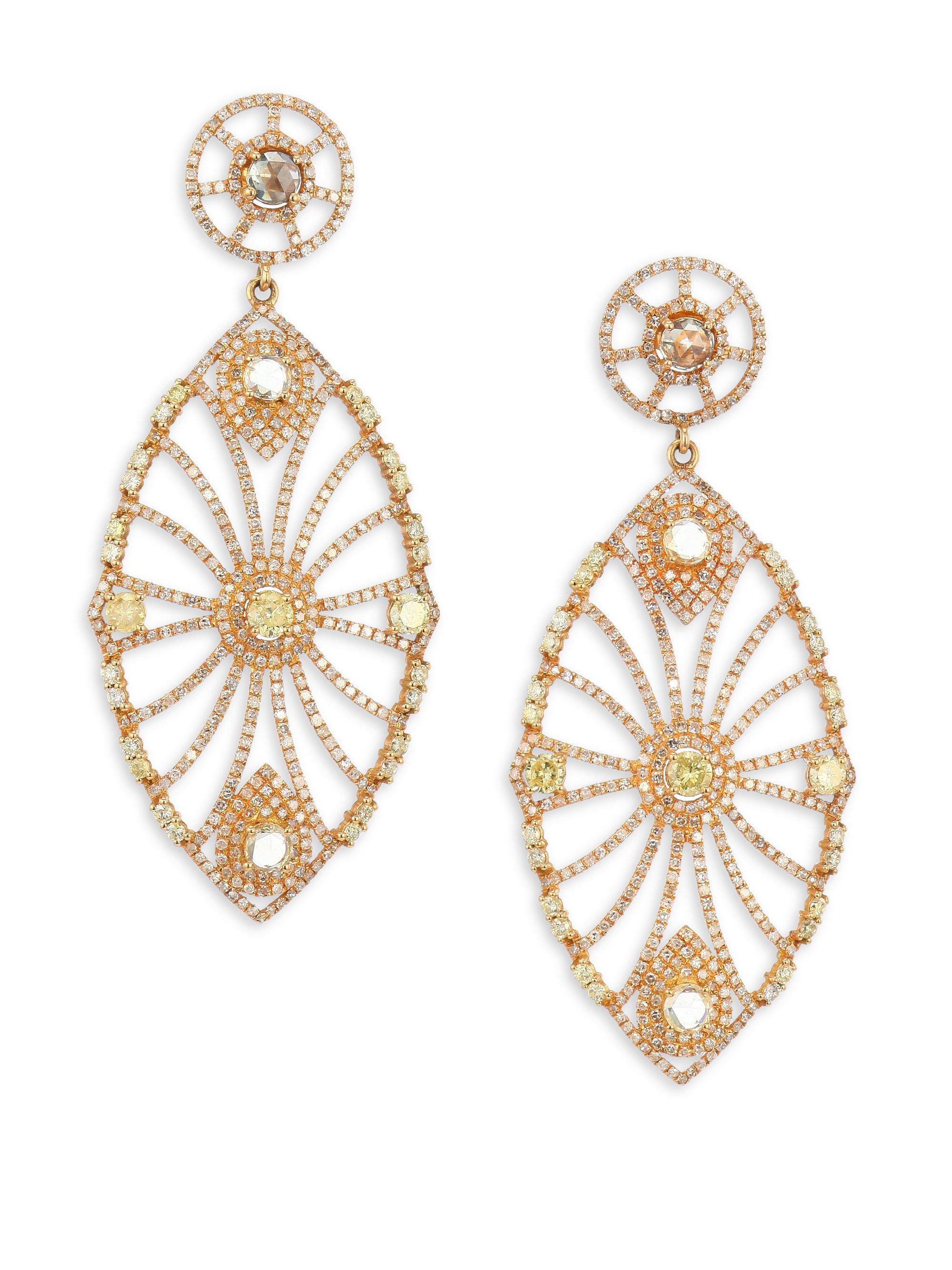 Bavna Diamond & Opal Fan Drop Earrings UNdtFq9f