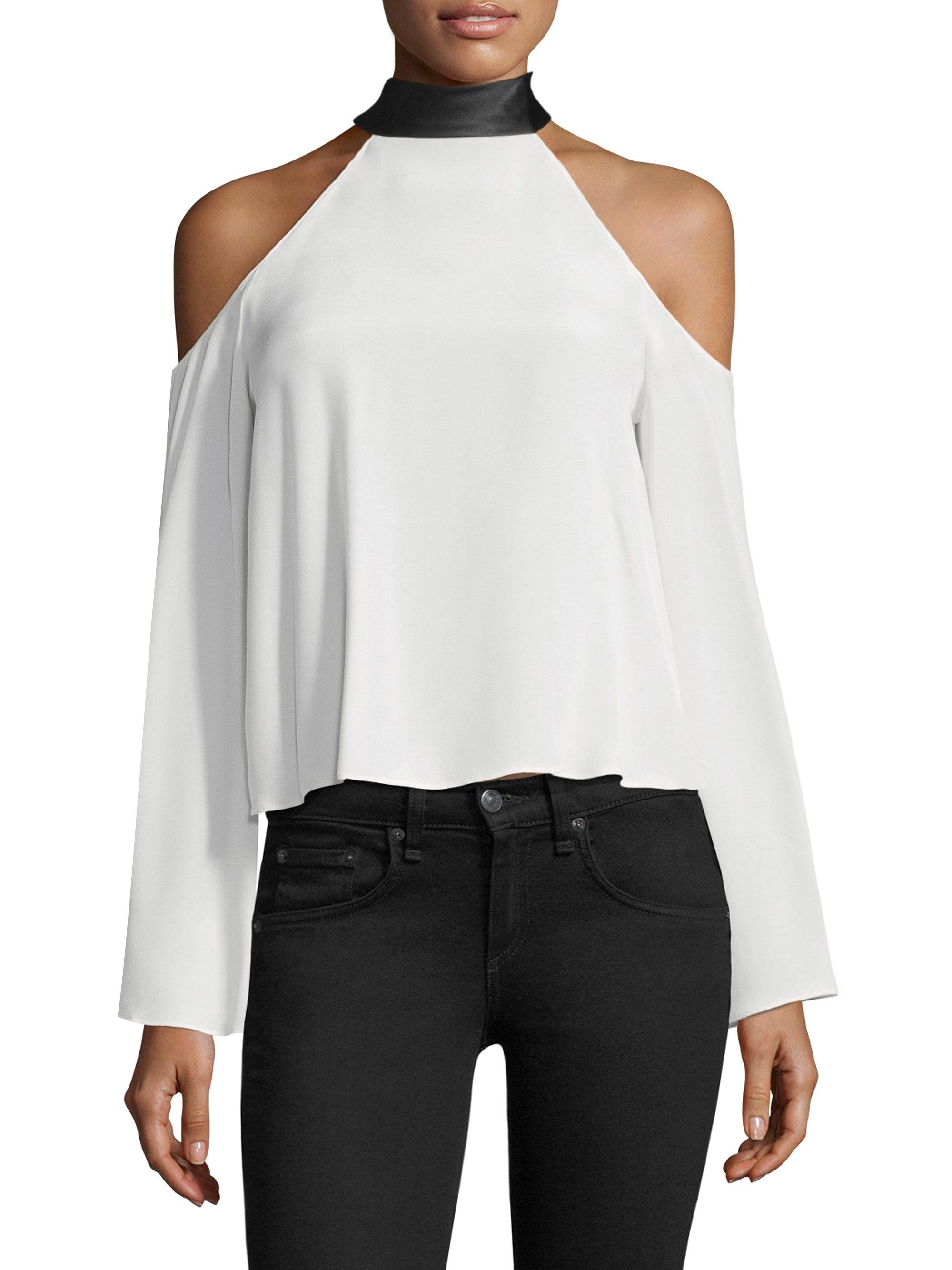606c3e55b0a Lyst - Ramy Brook Serena Silk Cold Shoulder Top in White