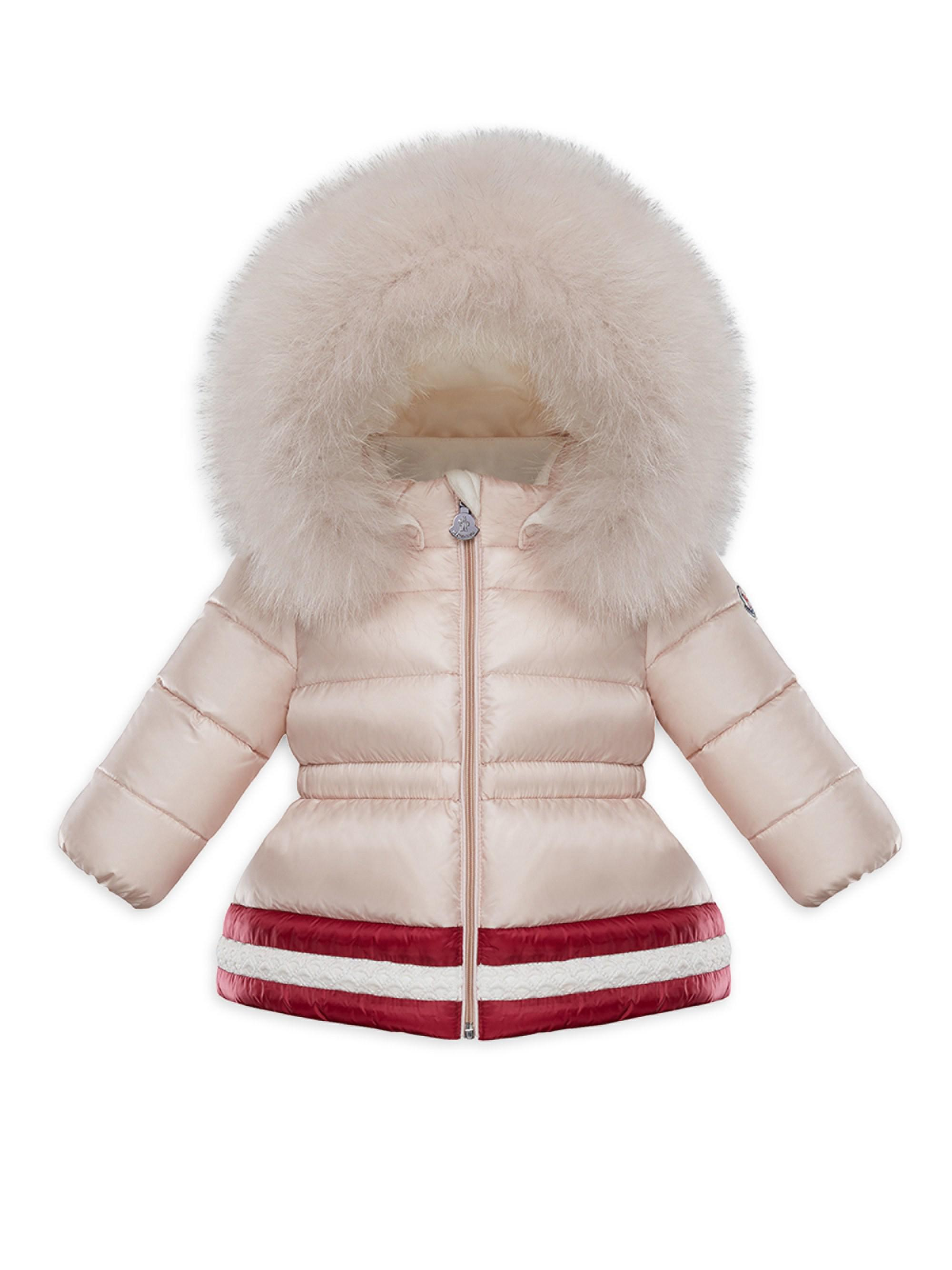 ce60fc7ad Moncler Baby Girl s   Little Girl s Fox Fur-trimmed Puffer Jacket - Lyst