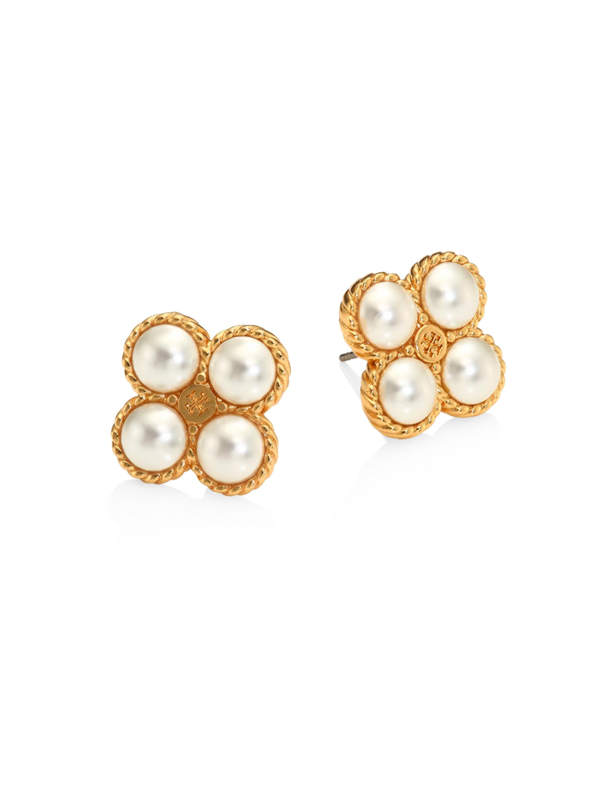 pearl tone gold teardrop s stud faux framed ivory claire earrings