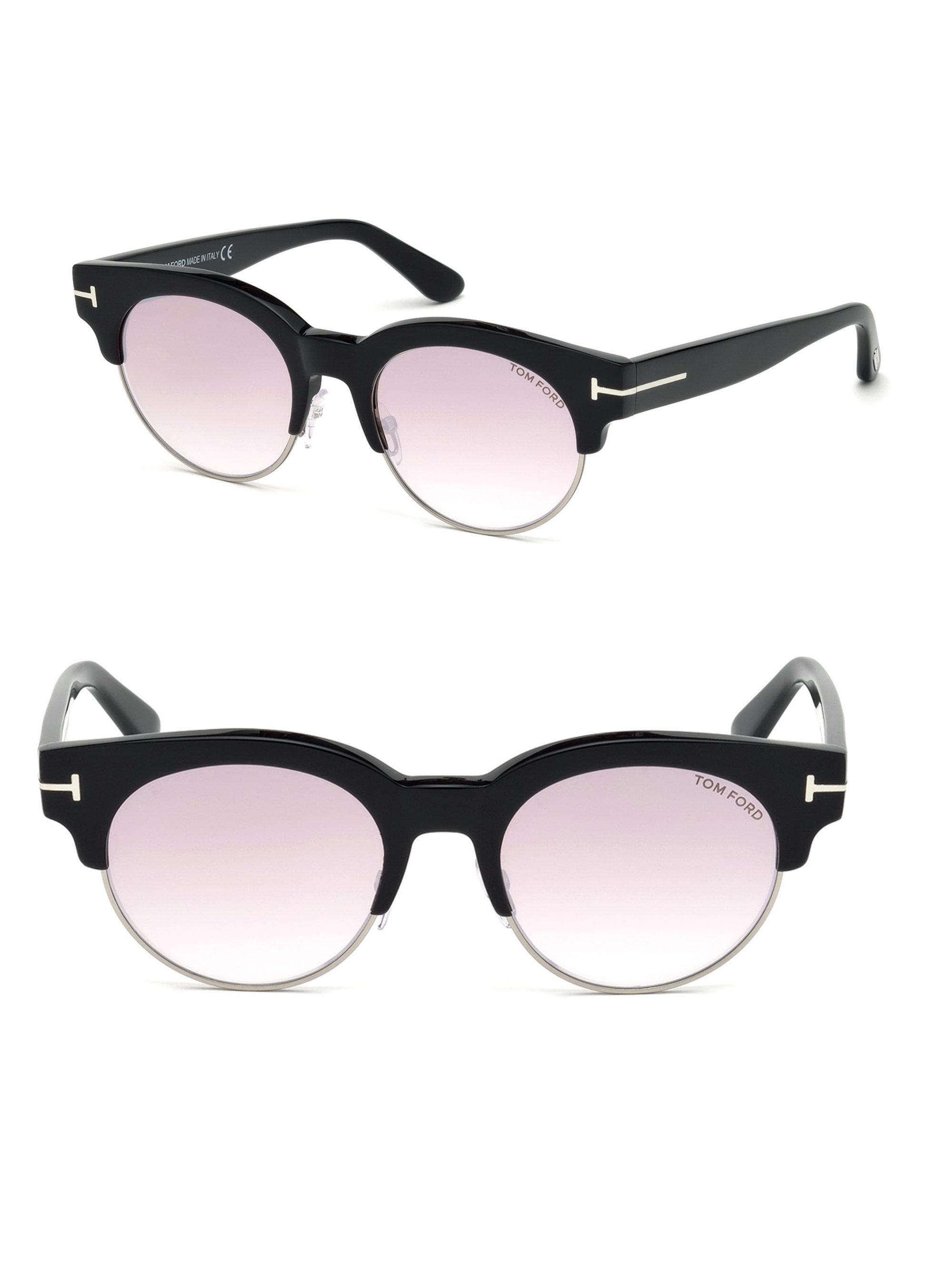 22fdd3ad708 Lyst - Tom Ford Henri 52mm Round Cat-eye Sunglasses in Black