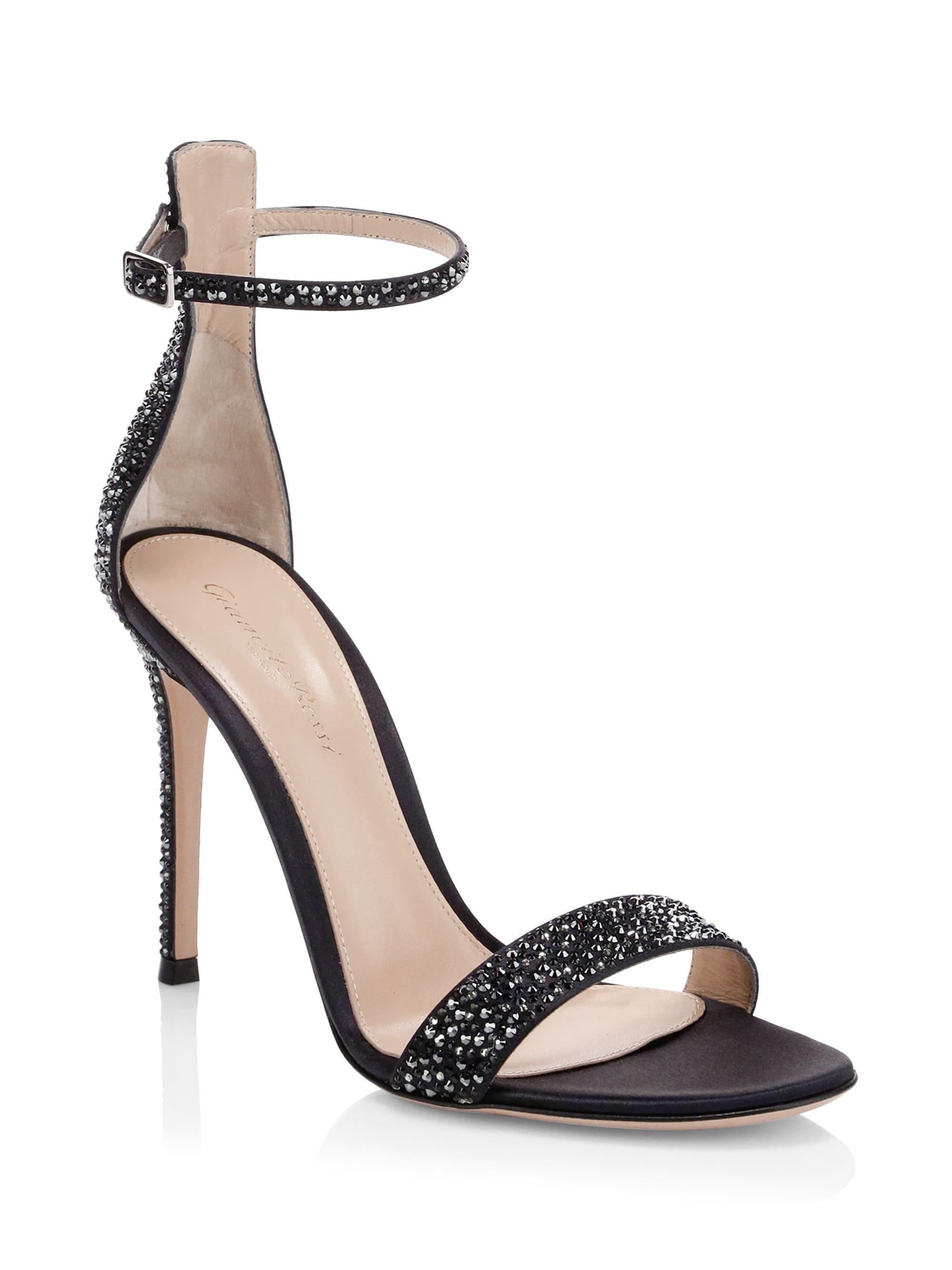 3c715146adc Lyst - Gianvito Rossi Silk Crystal Ankle-strap Sandals in Black
