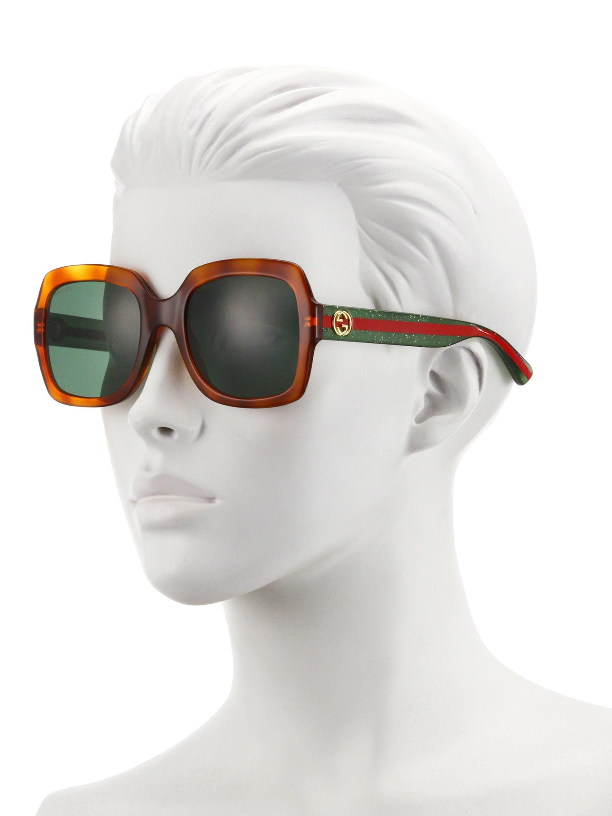 5294ecedc8 Gucci 54mm Glitter Web Oversized Square Sunglasses - Lyst