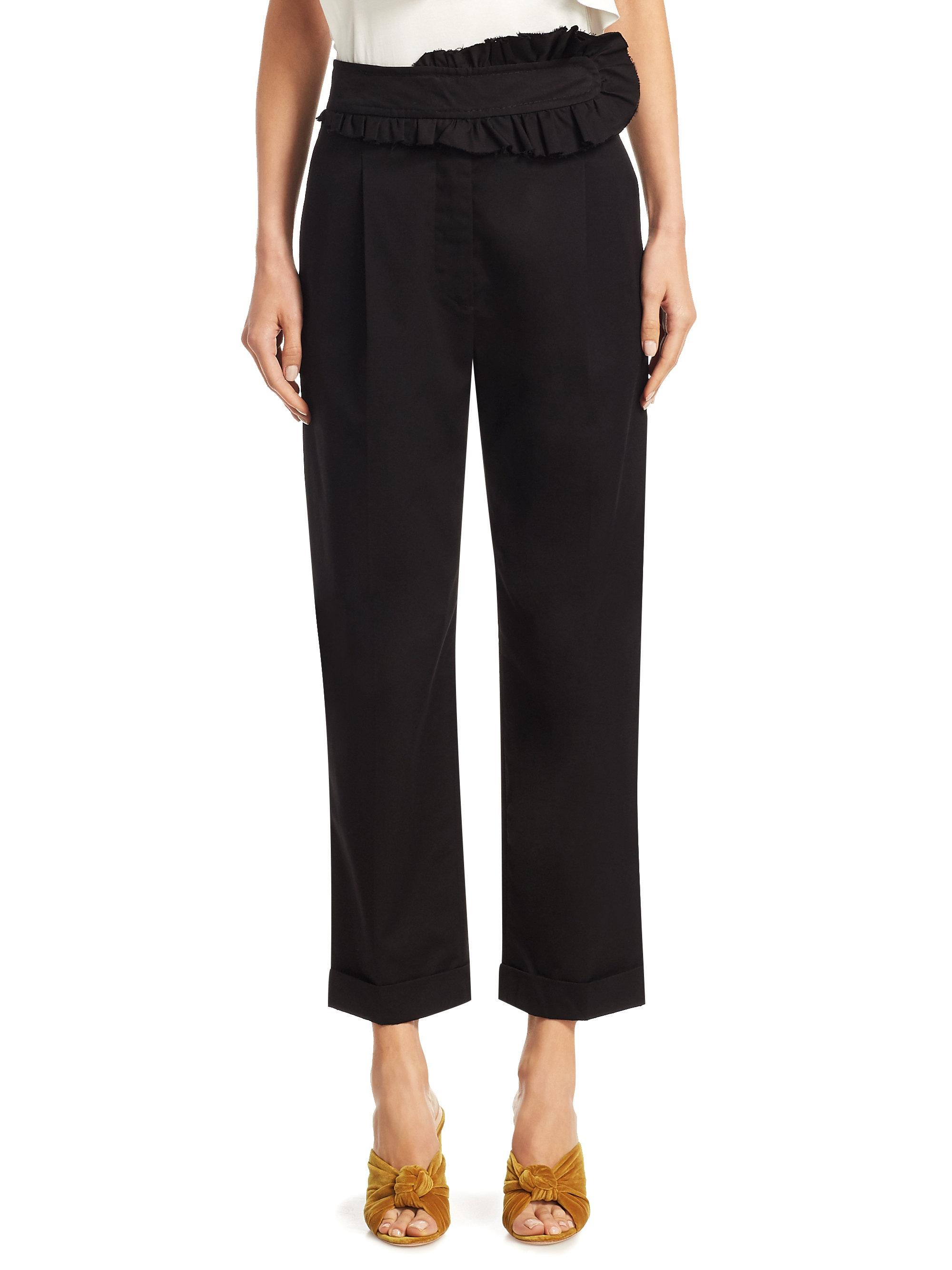 Ruffled Cotton Straight-leg Pants - Black Carven Really Online PV1bAI5cx