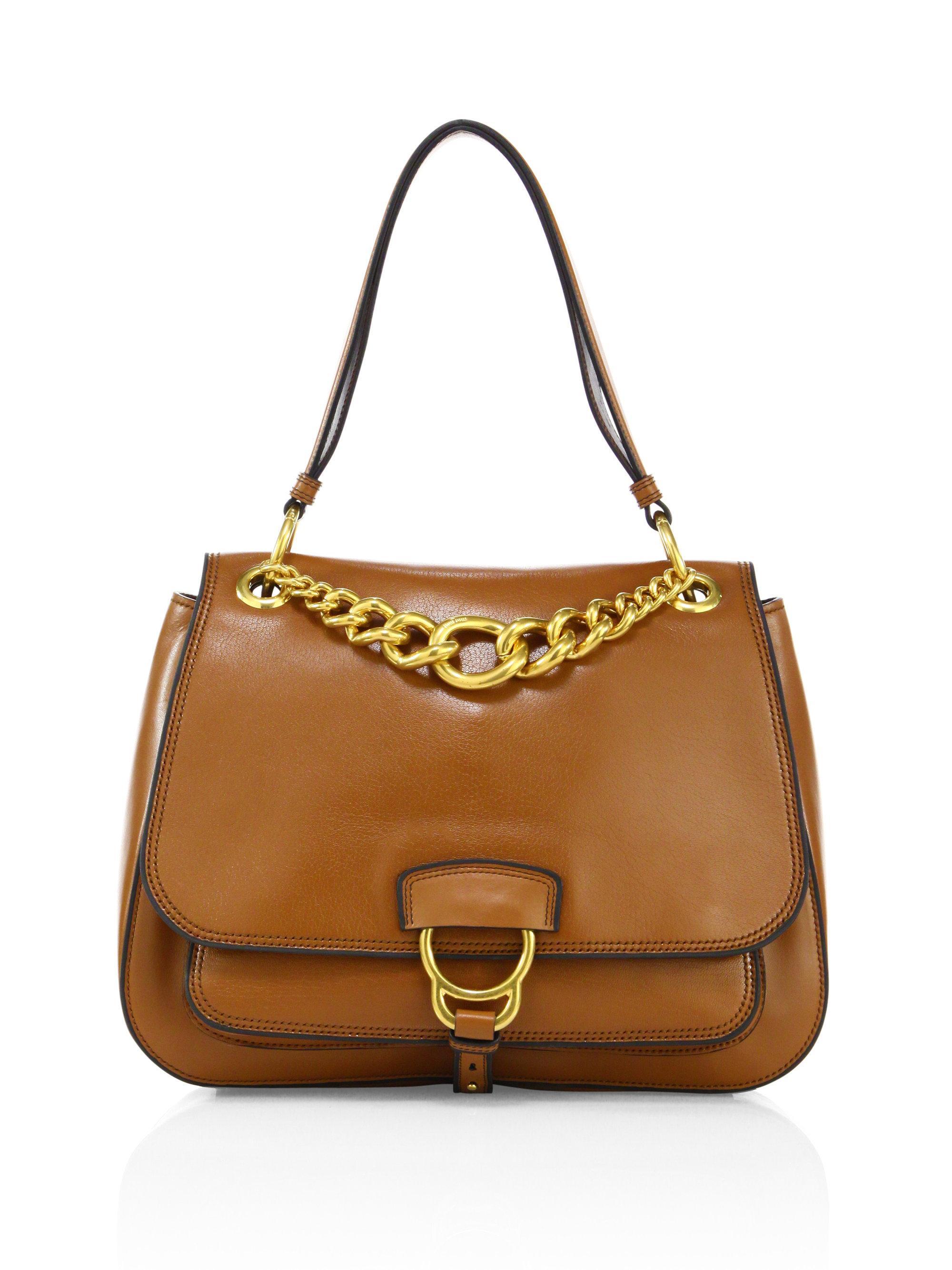 067a64933c7d Miu Miu Large Dahlia Madras Leather Saddle Bag in Brown - Lyst