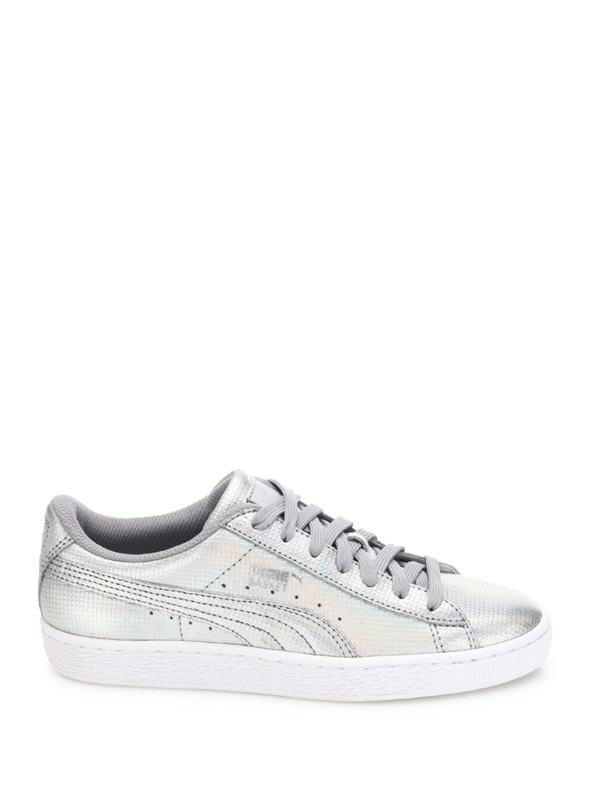 87a82840c1a Lyst - PUMA Basket Holographic Leather Sneakers in Metallic