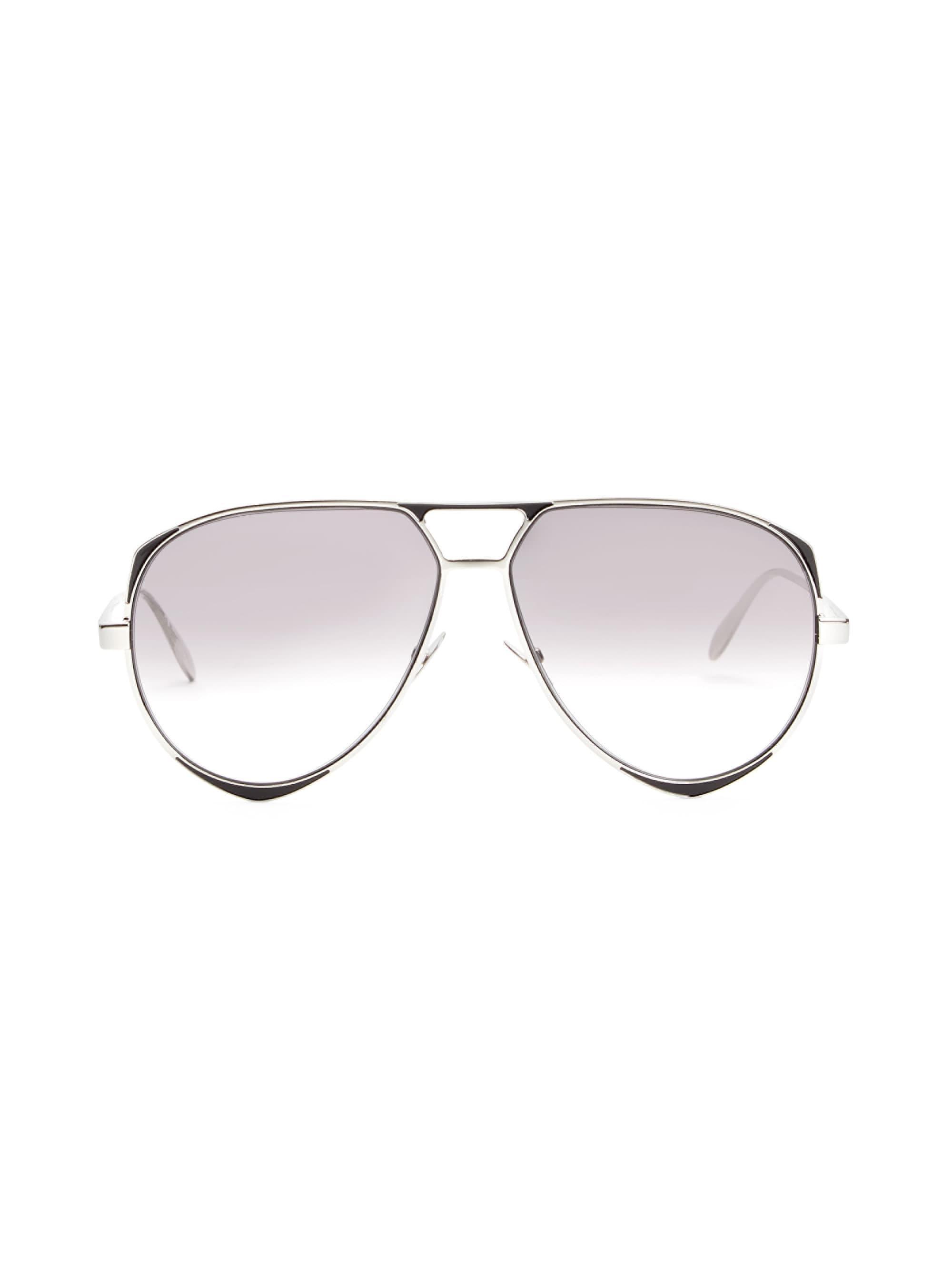 c7a4039e863 Alexander McQueen 61mm Geometric Aviator Sunglasses in Metallic for ...