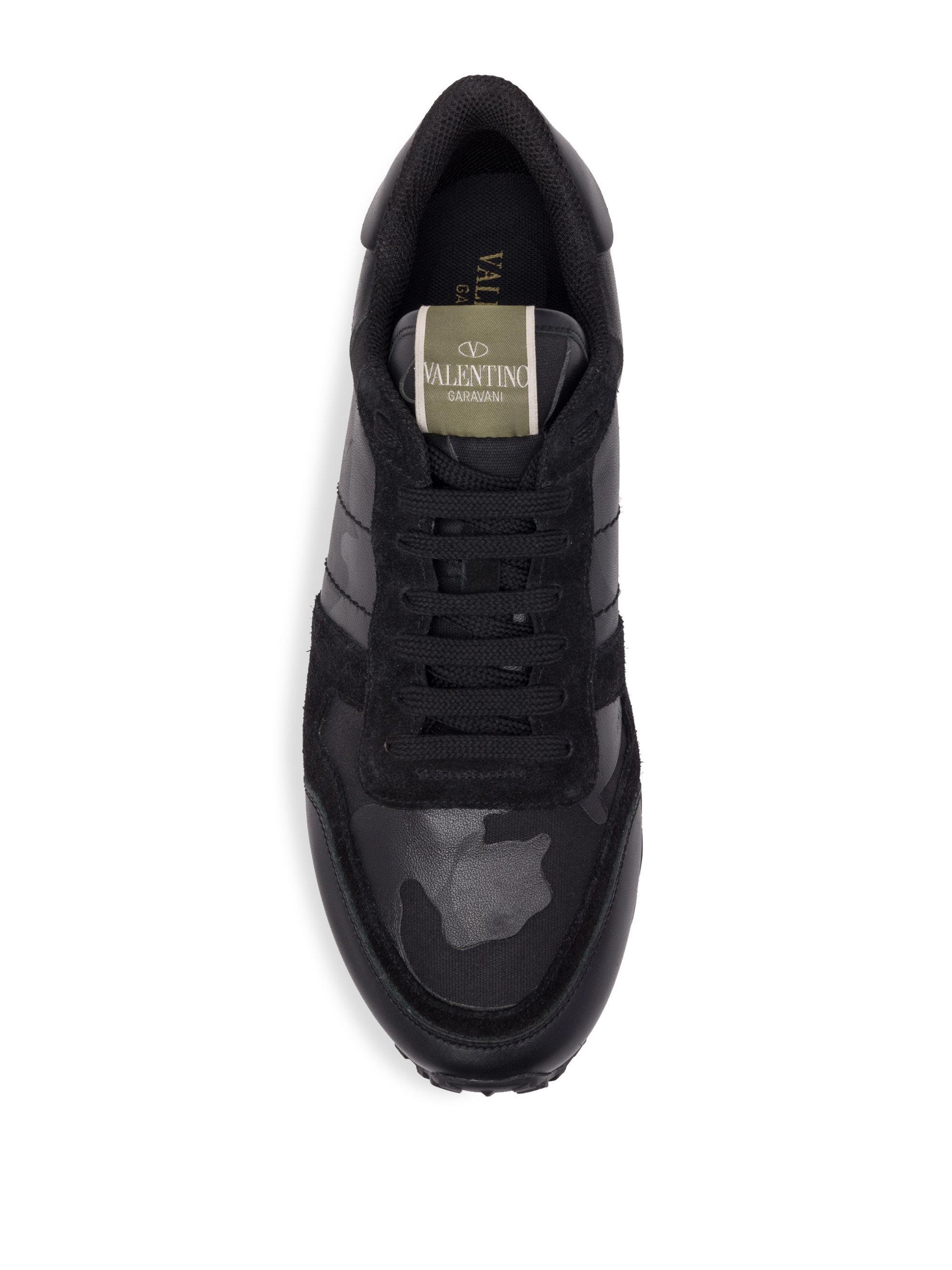 Valentino Noir Camo Rockstud Sneakers POloIK