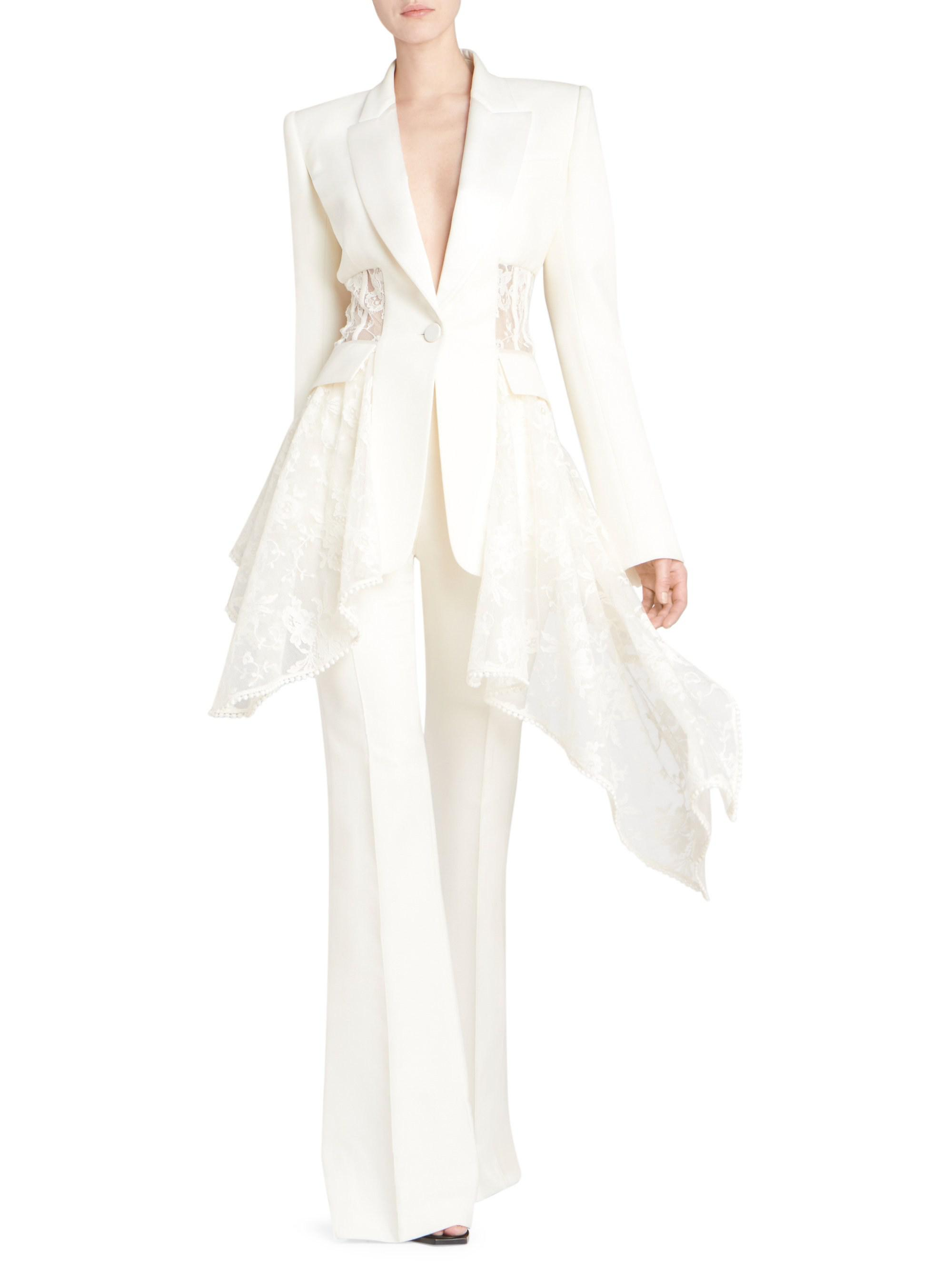 18cdbc5dfc Lyst - Alexander McQueen Lace Drape Corset Jacket in White