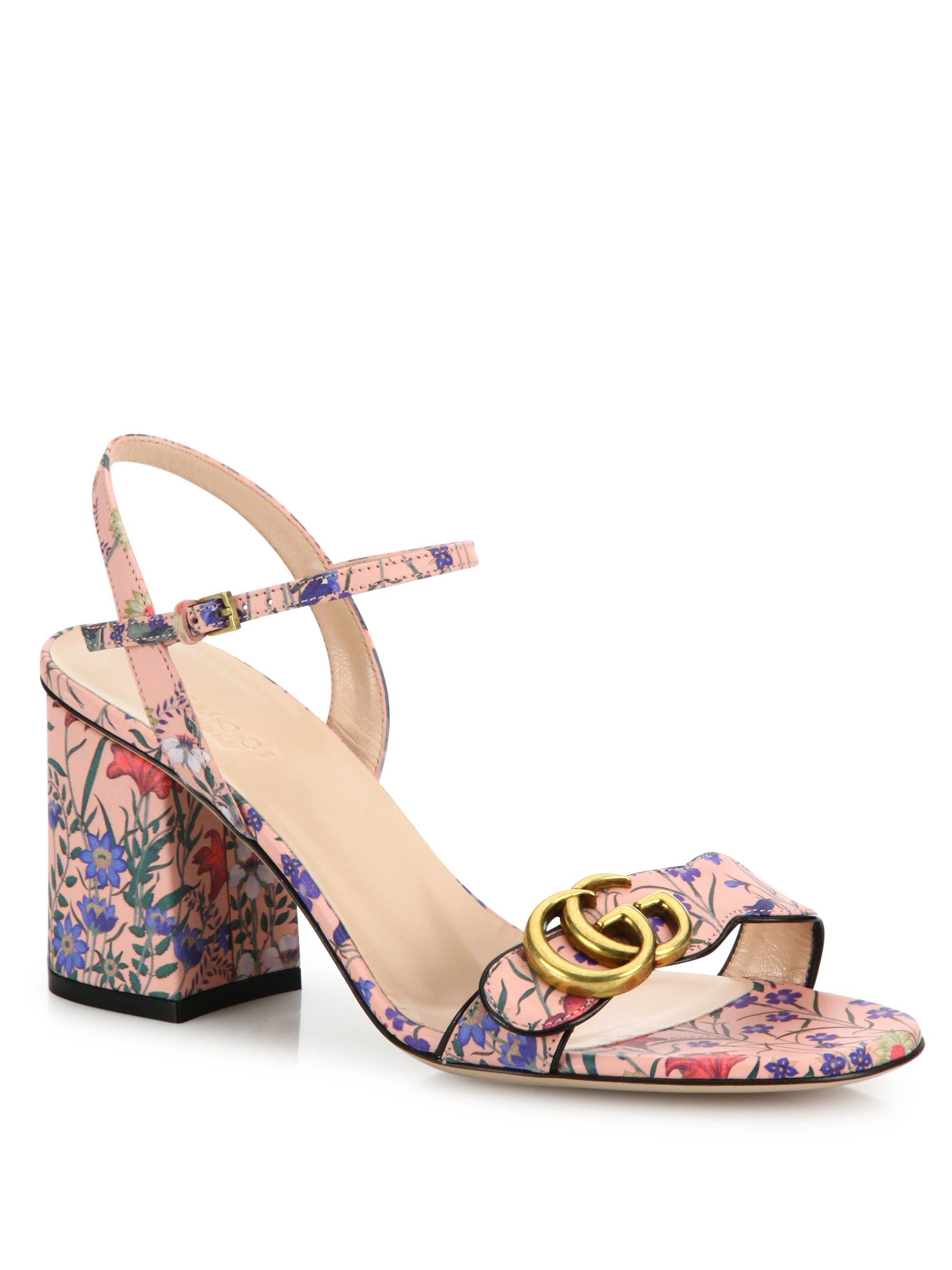 dea062ffd Gucci Marmont Floral-print Leather Block-heel Sandals in Pink - Lyst