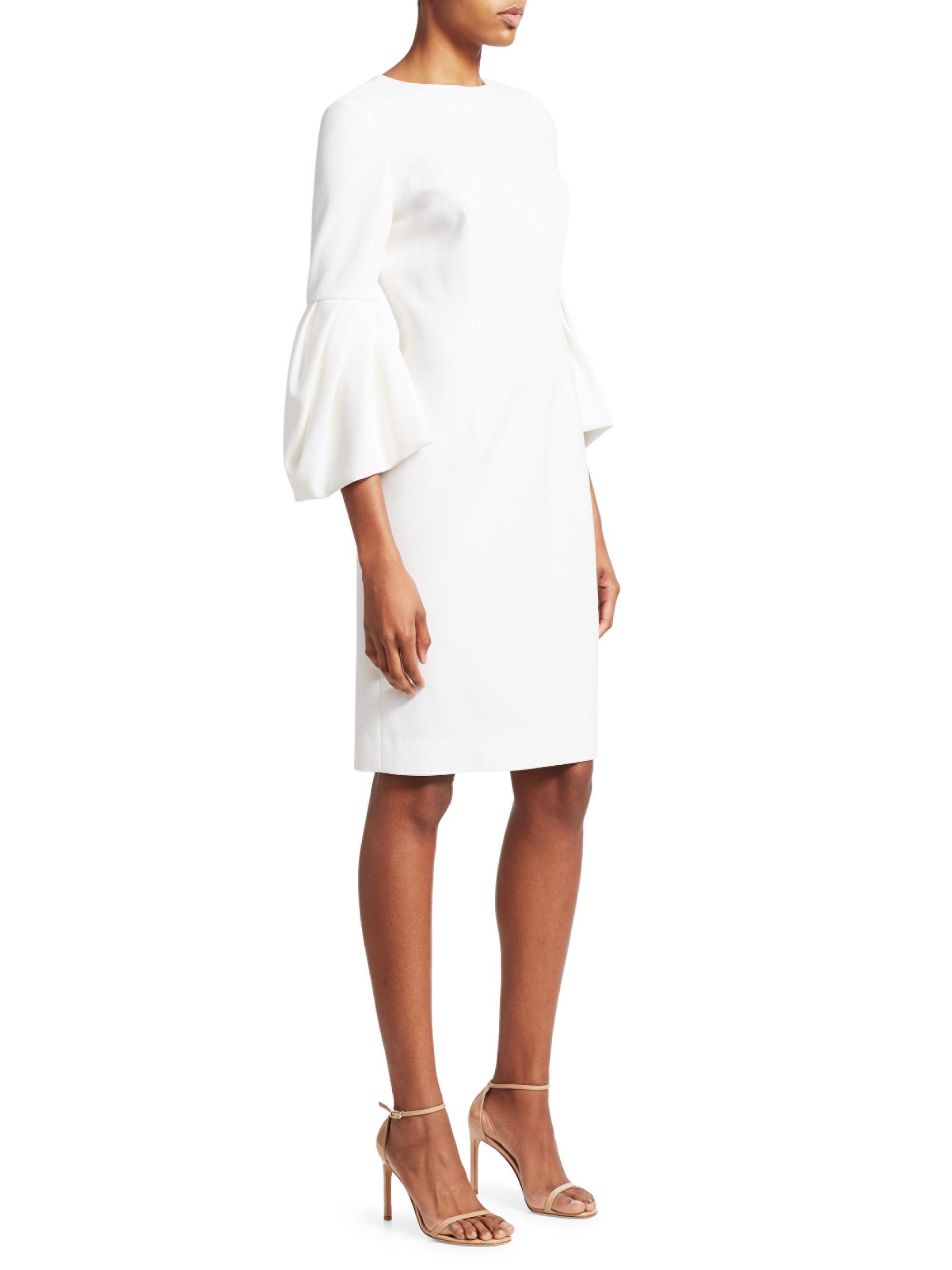 87ba2dc3a45b9 Lyst - Carolina Herrera Bell Sleeve Sheath Dress in White