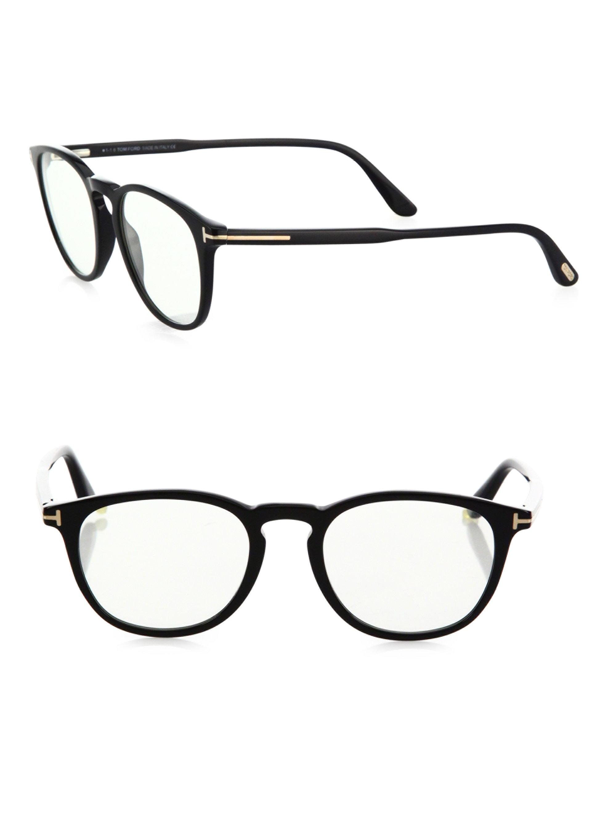 14c35d49f4f Lyst - Tom Ford 50mm Round Optical Glasses   Clip-on Sunglasses in Blue