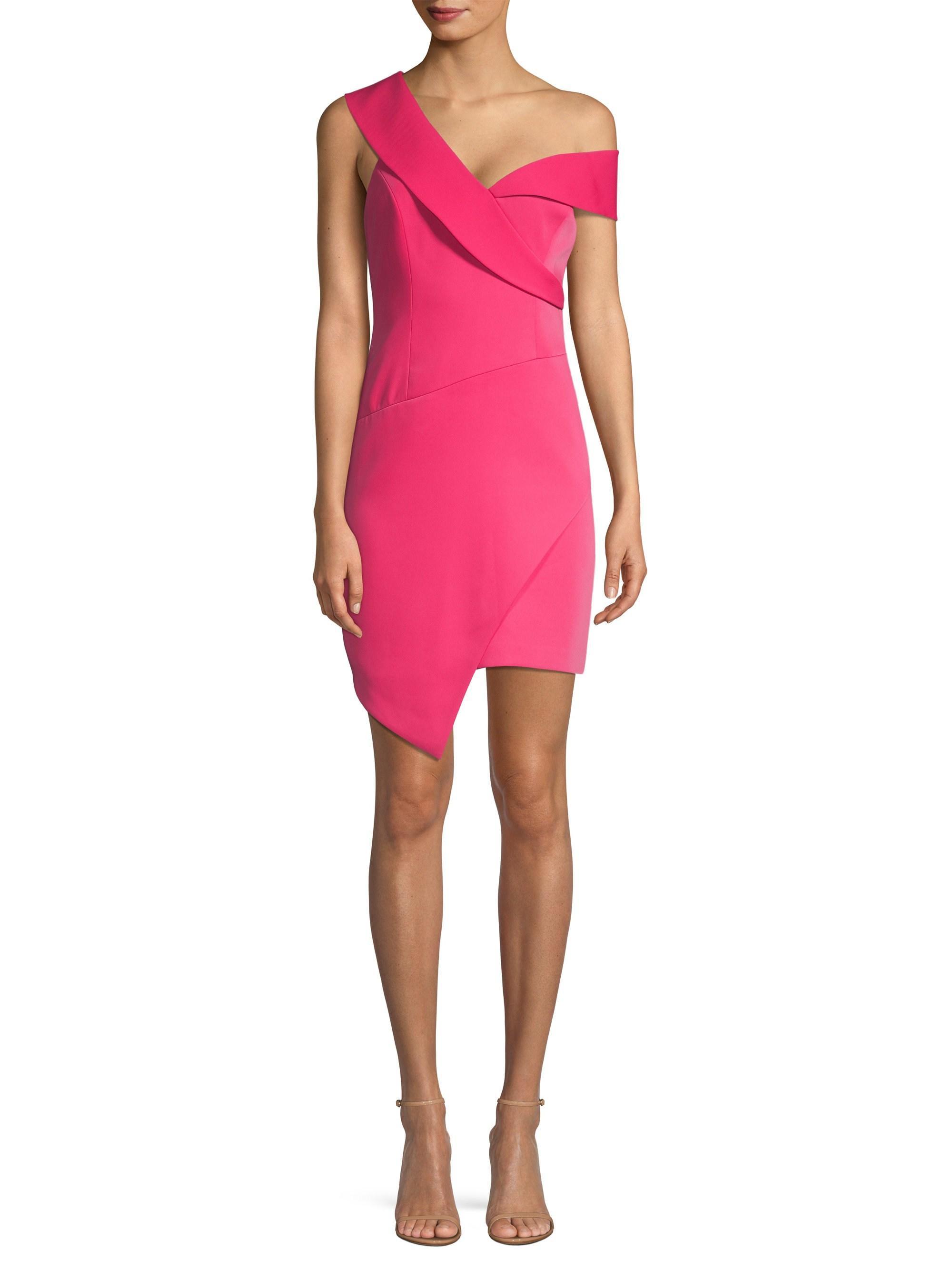 e8761dd2 BCBGMAXAZRIA One Shoulder Satin Sheath Dress in Pink - Lyst