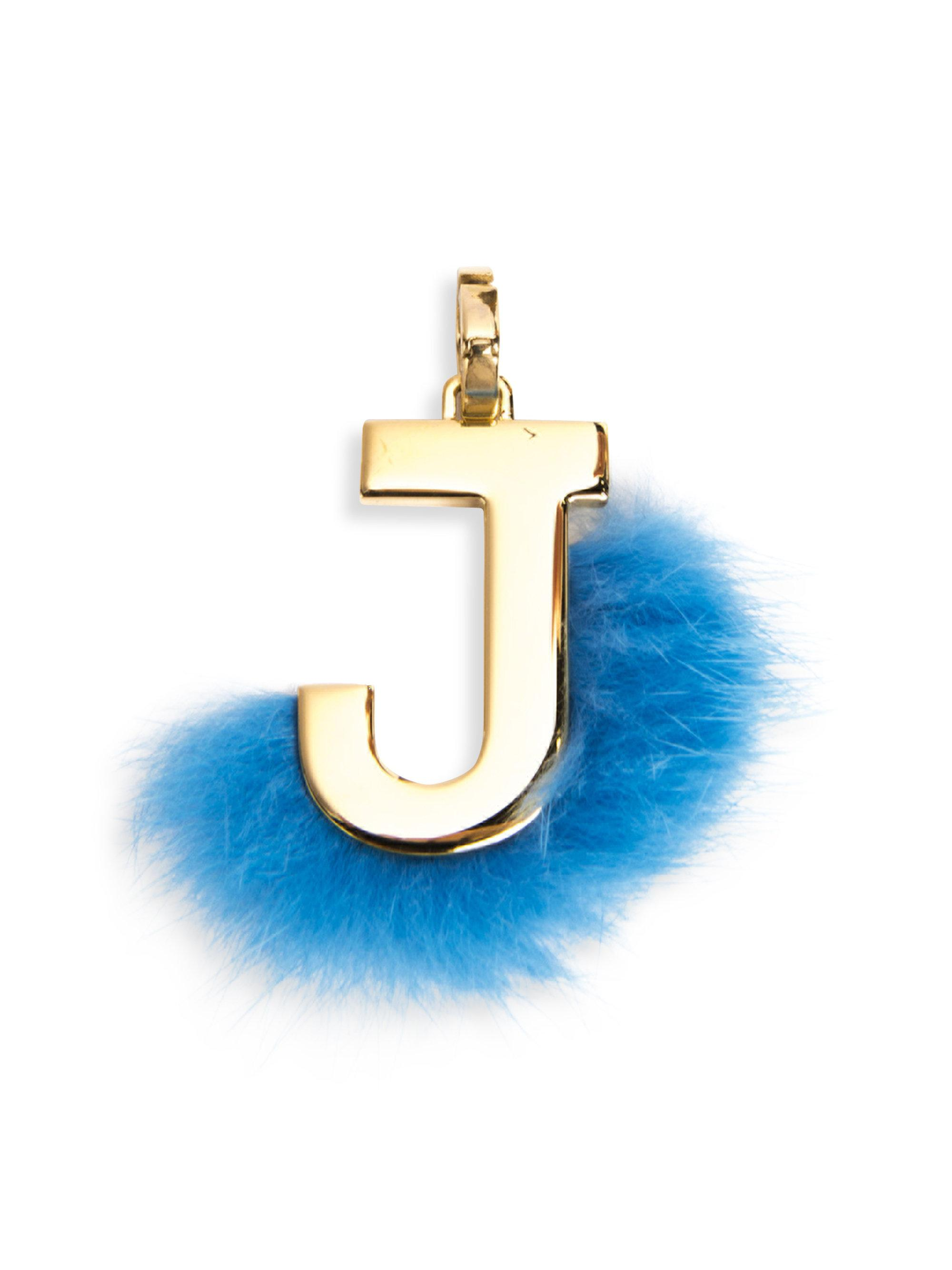 Lyst fendi mink fur trimmed initial charm in blue for Fendi letter keychain