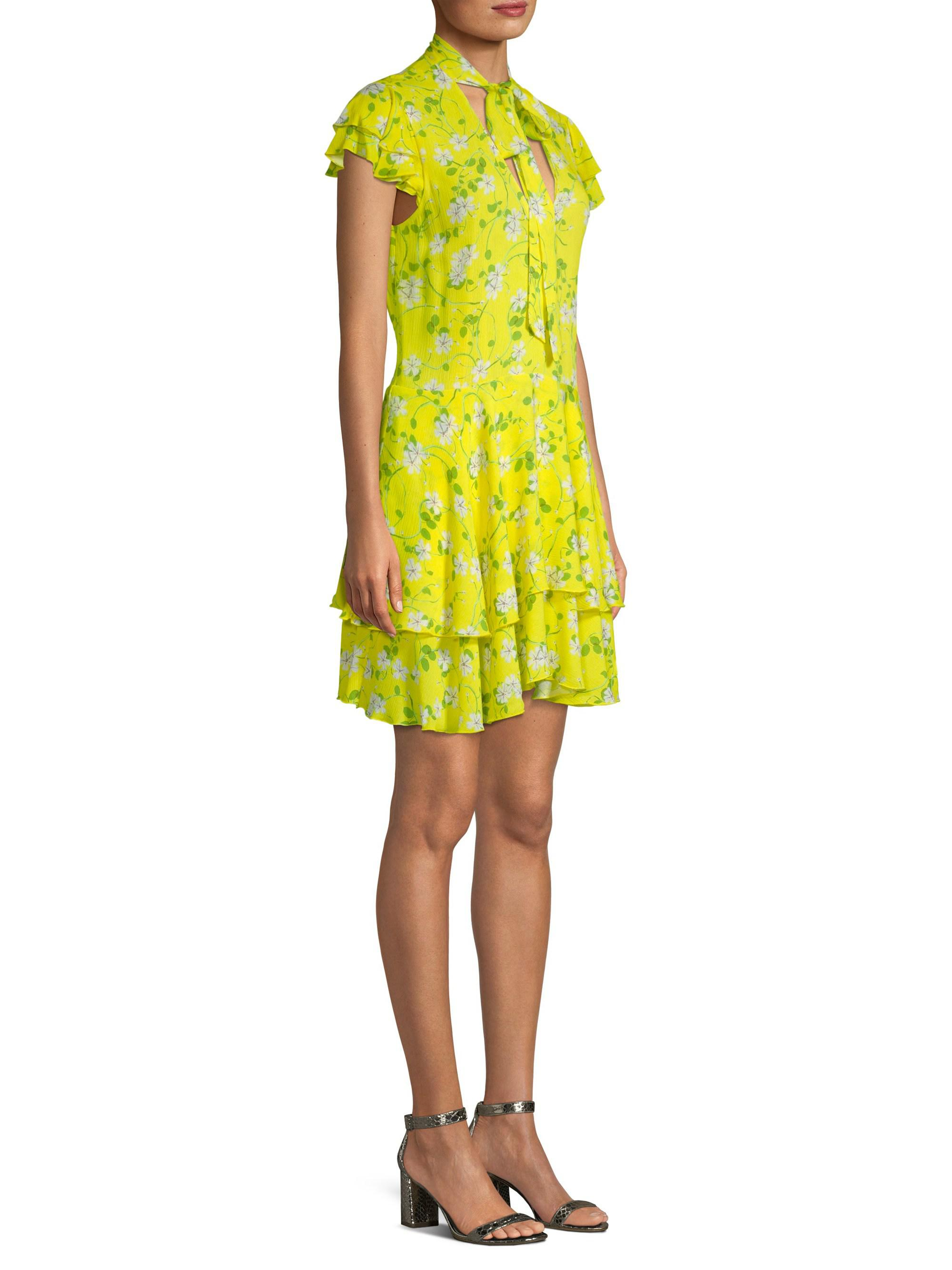 732176c338485 Alice + Olivia Moore Flutter Sleeve Mini Dress in Yellow - Lyst