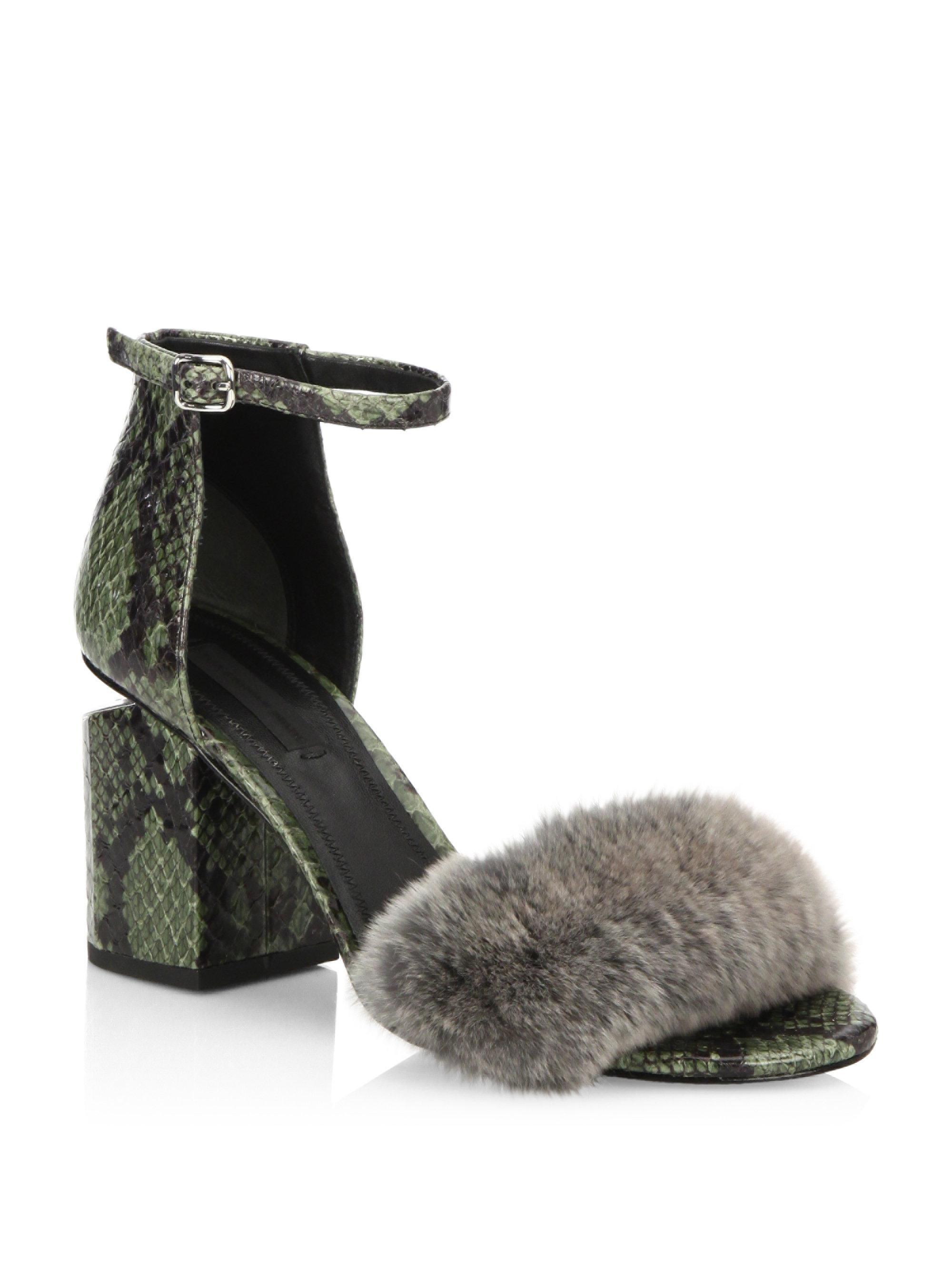 Lyst Alexander Wang Abby Tilt Heel Rabbit Fur