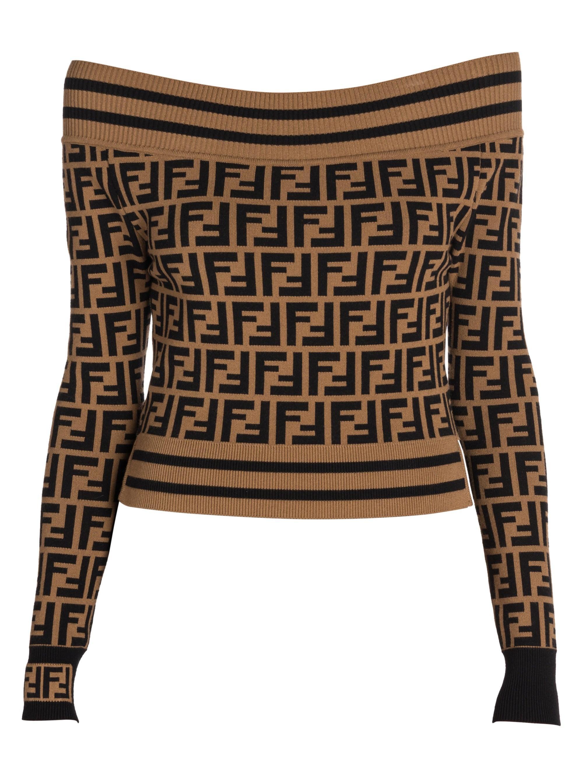 ece71fb1cf751 Lyst - Fendi Women s Off-the-shoulder Knit Logo Sweater - F Brown ...