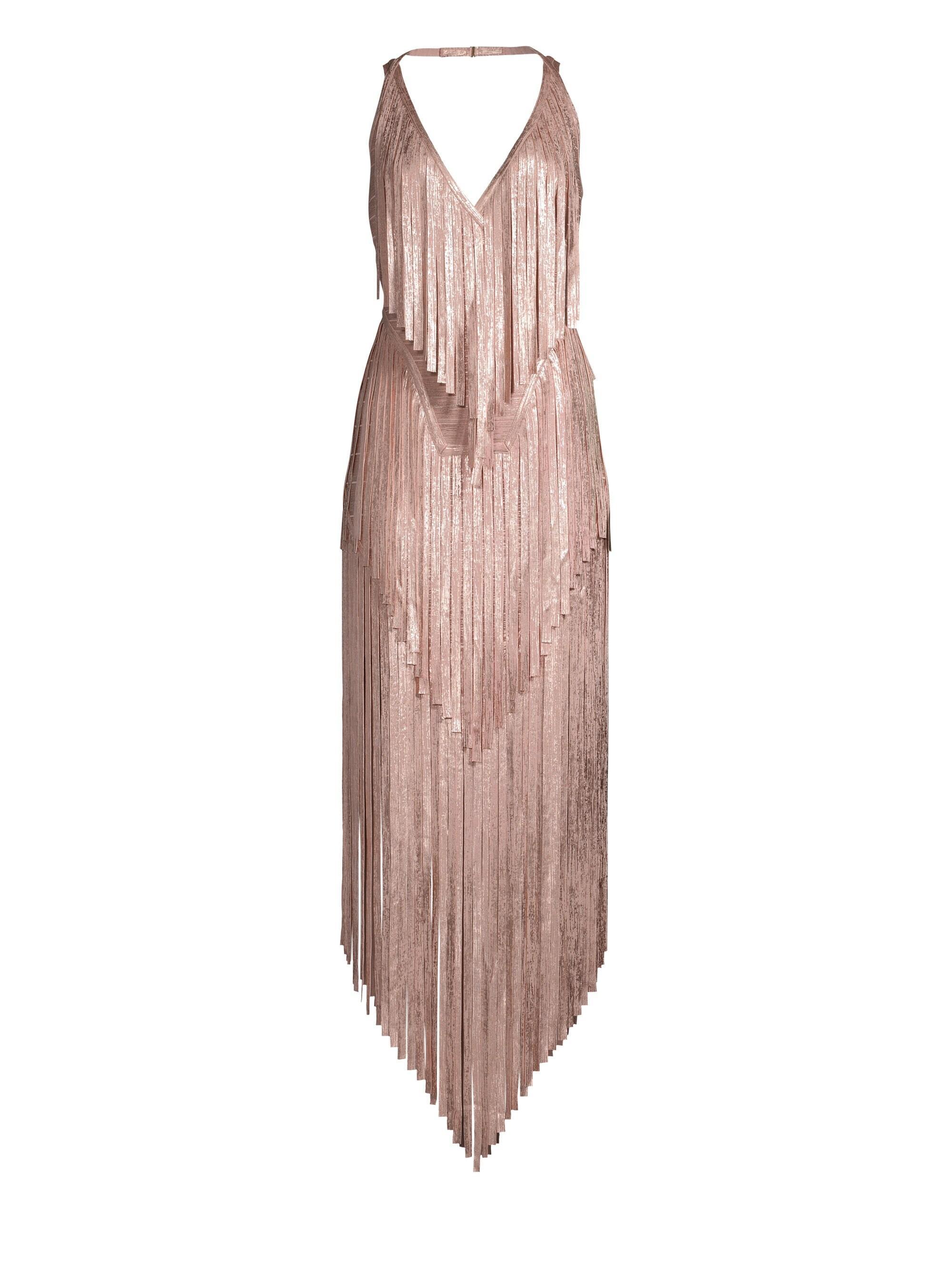 22cfc6391380 Hervé Léger Mid-calf Foil Fringe Bodycon Dress in Pink - Lyst
