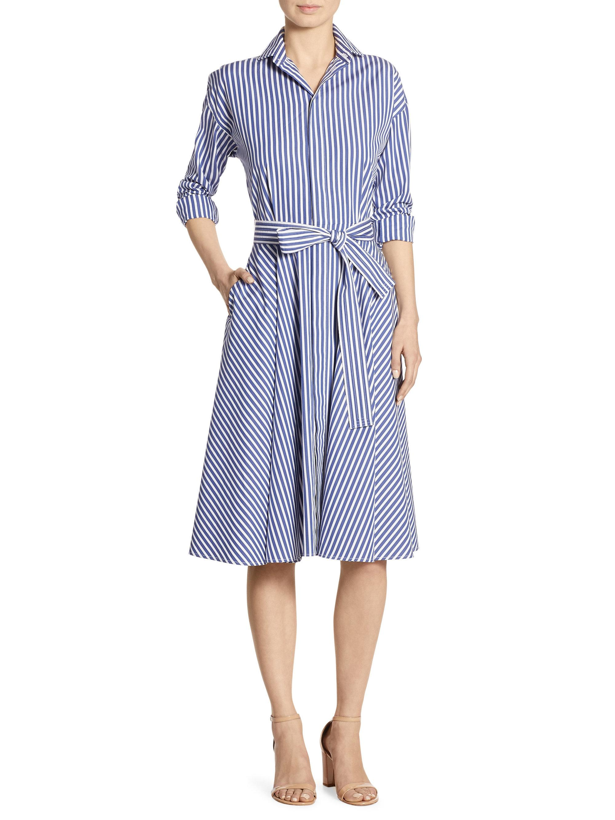 Lyst Polo Ralph Lauren Striped Cotton Poplin Shirtdress In Blue