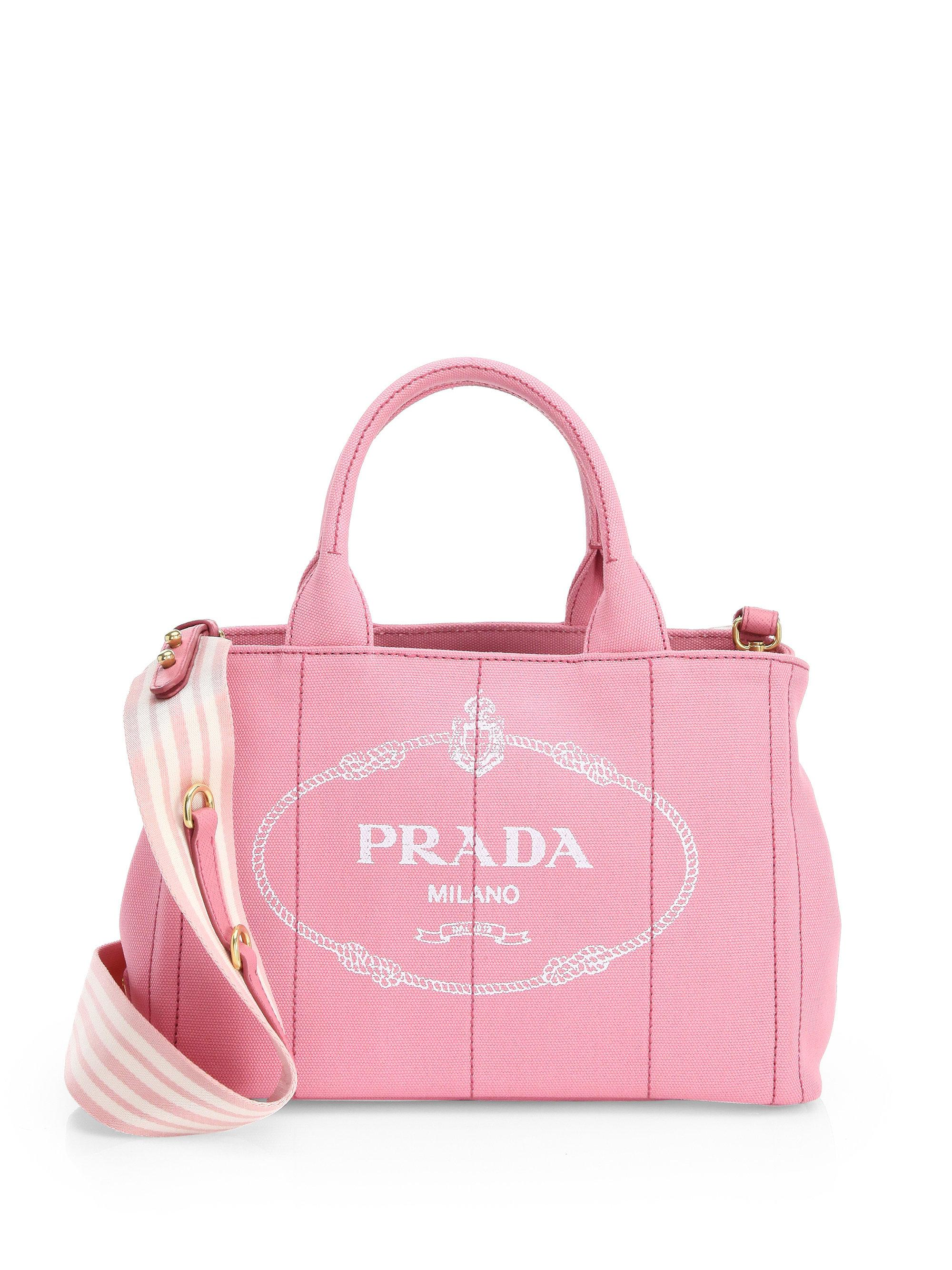 d877357f6345 ... shoulder bag 3f706 64e03; best price lyst prada canapa small tote in  pink cce0a 16633