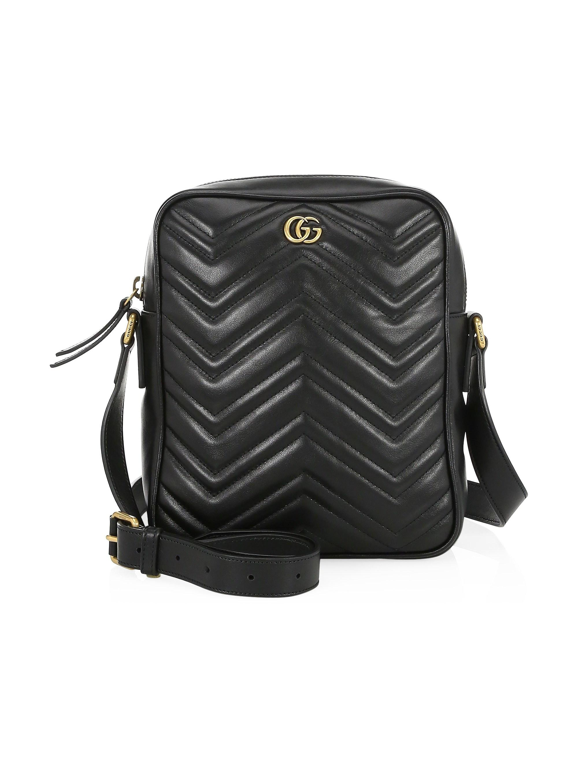 e66dab32270c0d Gucci Men's GG Marmont Leather Shoulder Bag - Nero in Black for Men ...