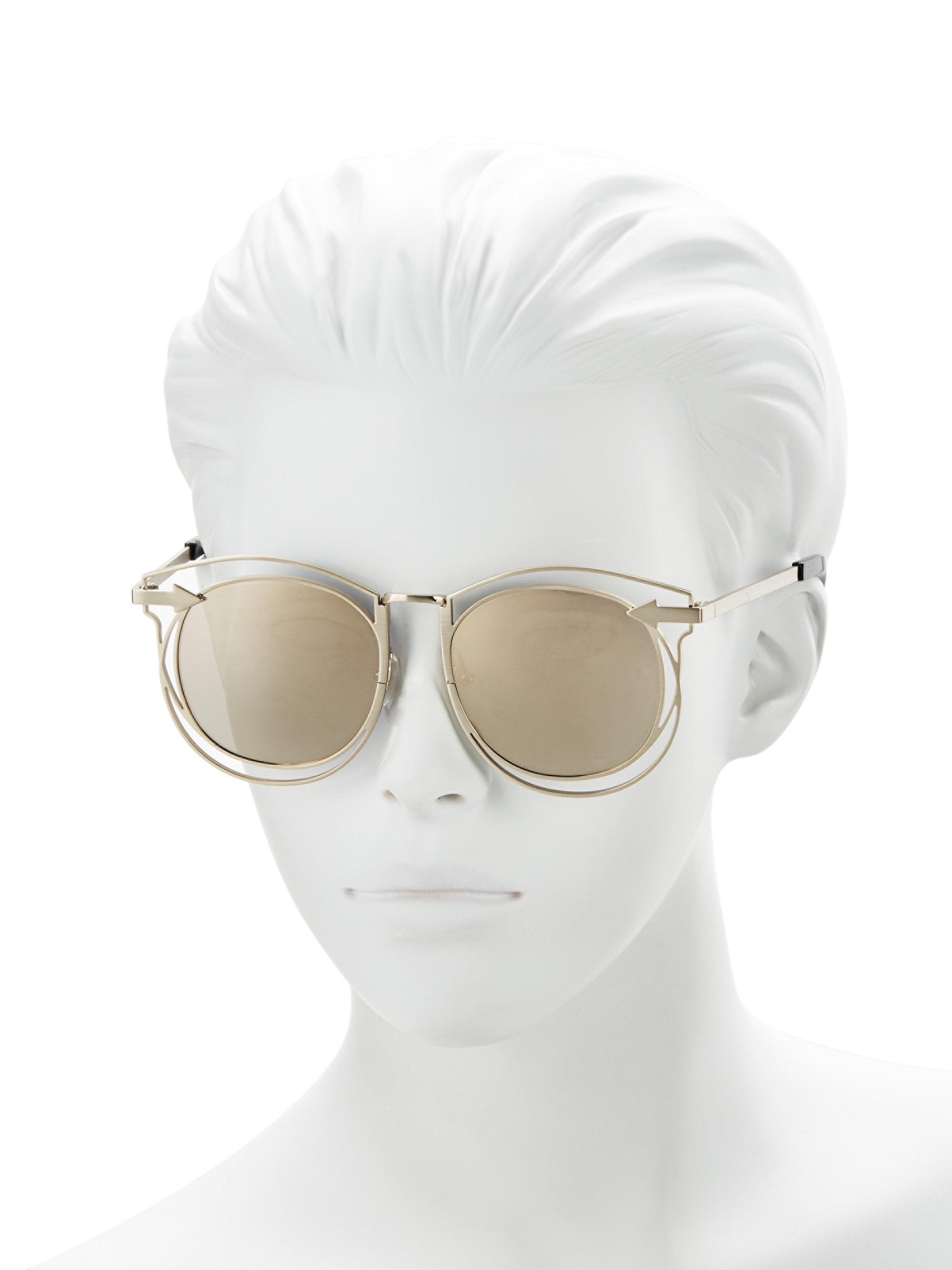 Lyst - Karen Walker Superstars Simone 54mm Round Wire Sunglasses in ...