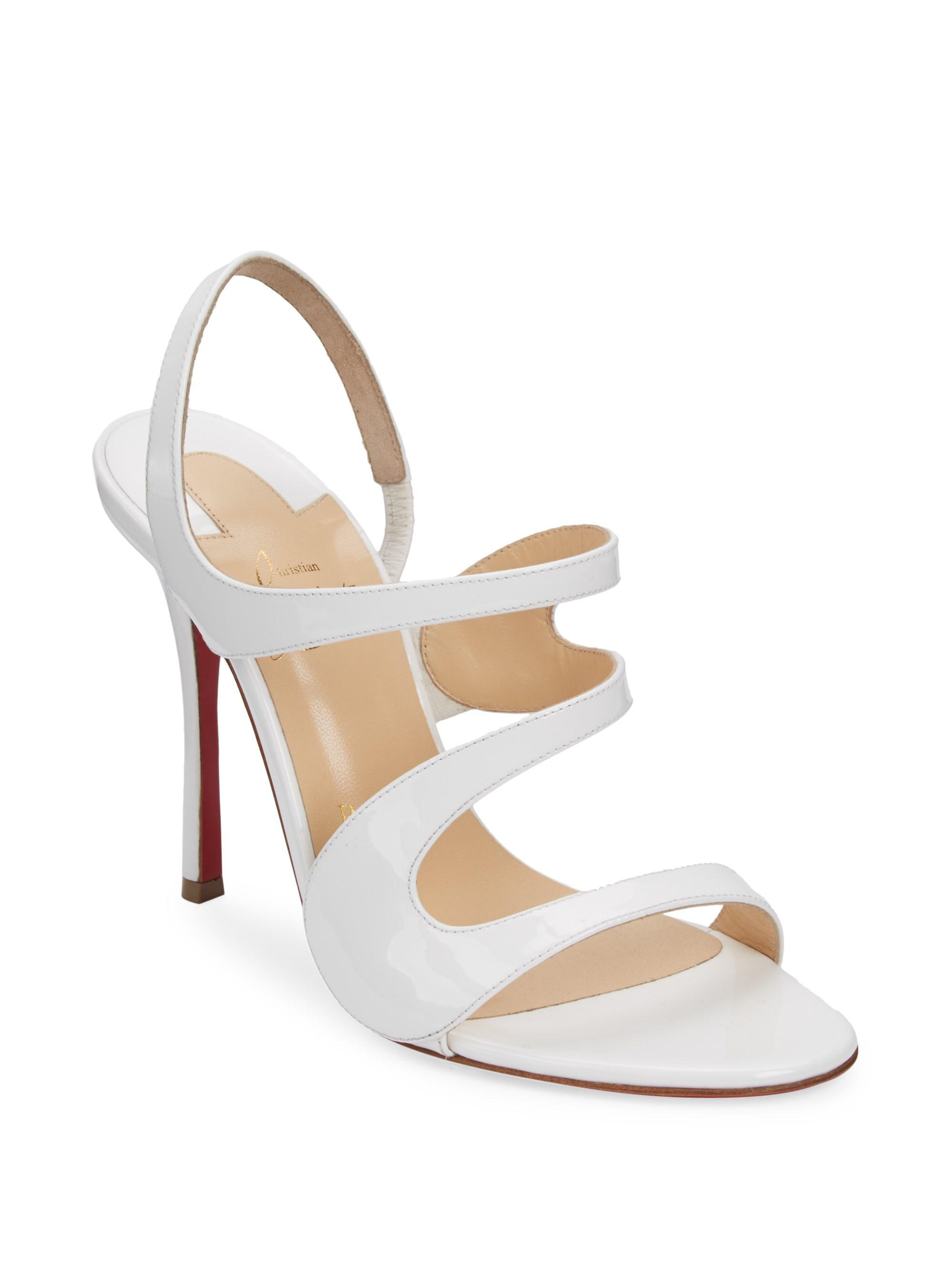 a0dec2cce601 Christian Louboutin Vavazou 100 Leather Sandals in White - Lyst