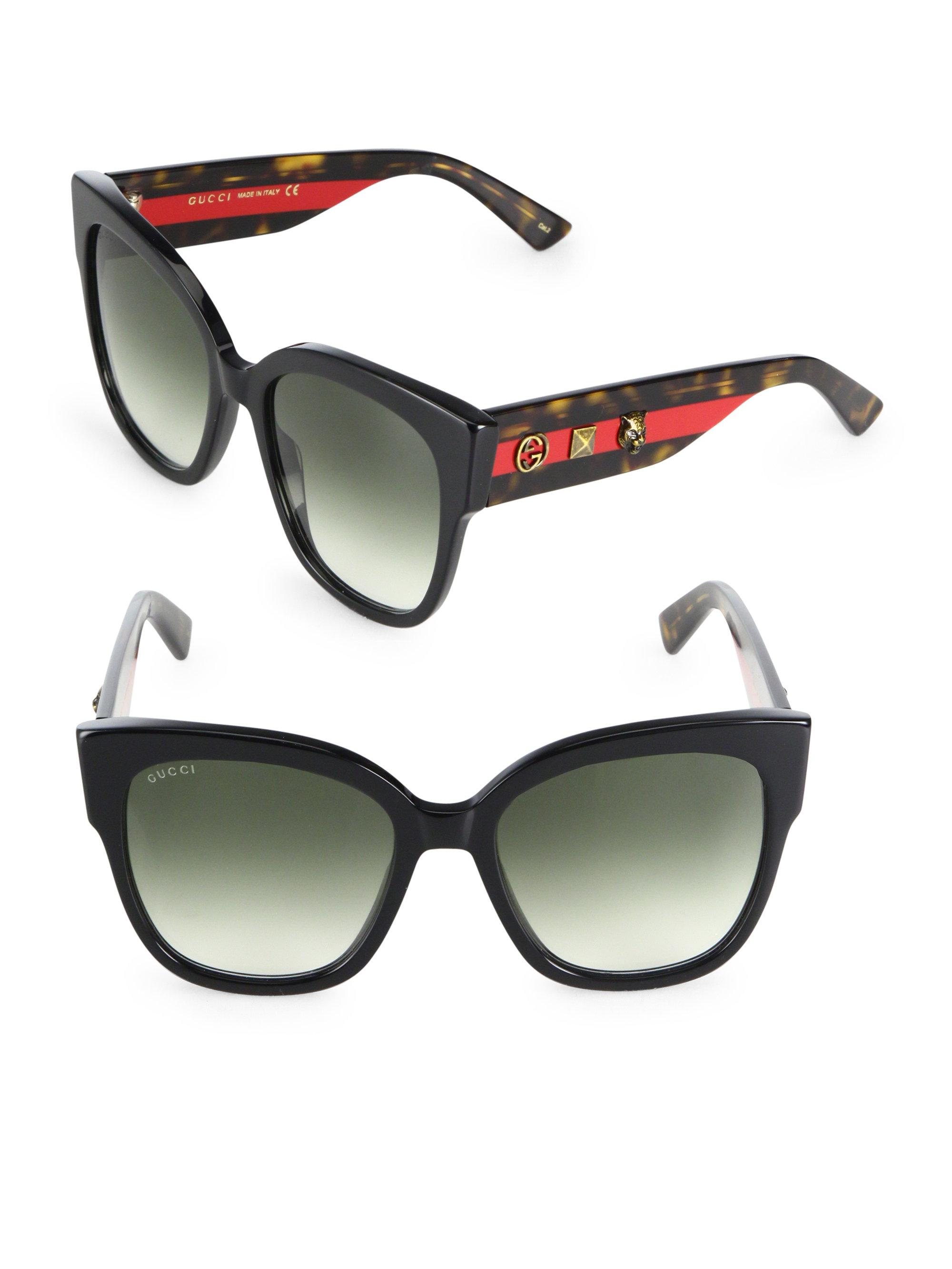 5c976f8ee04 Lyst - Gucci 55mm Oversized Studded Square Cat Eye Sunglasses in Black