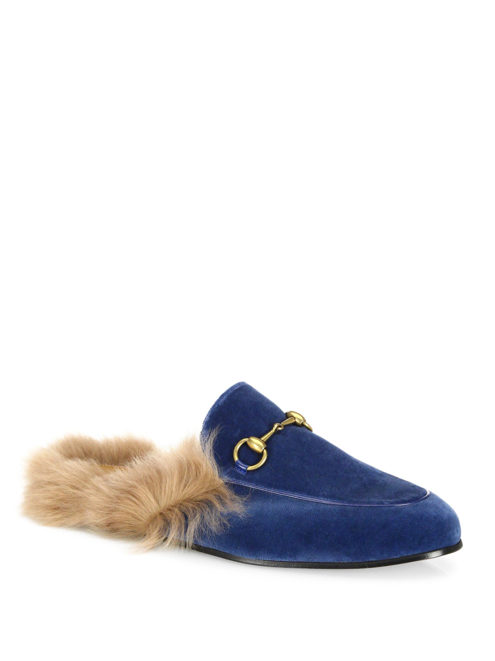 Gucci Blue Velvet & Fur Princetown Slippers MnuPoP6