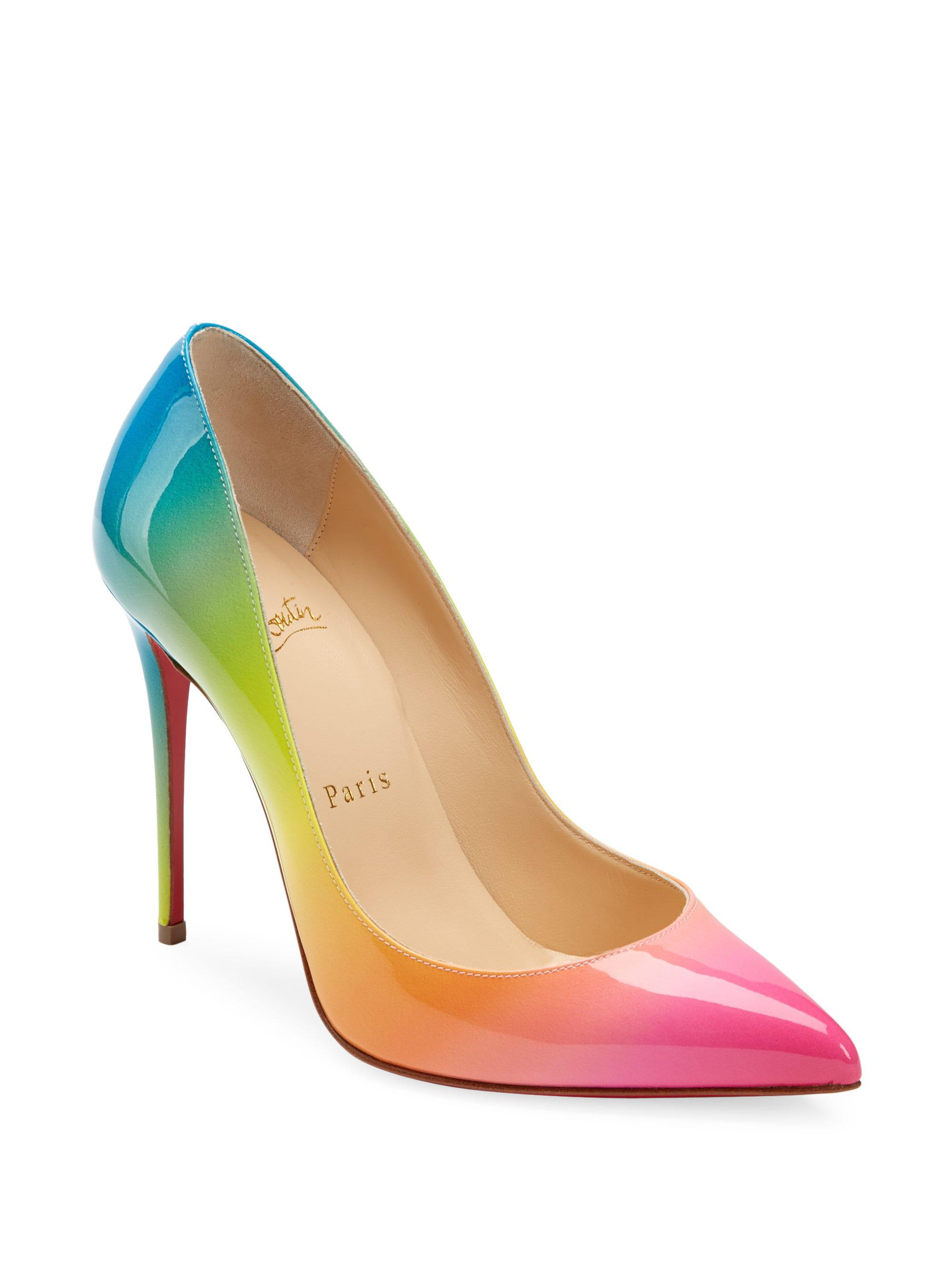 christian louboutin pigalle follies satin red sole pump multicolor