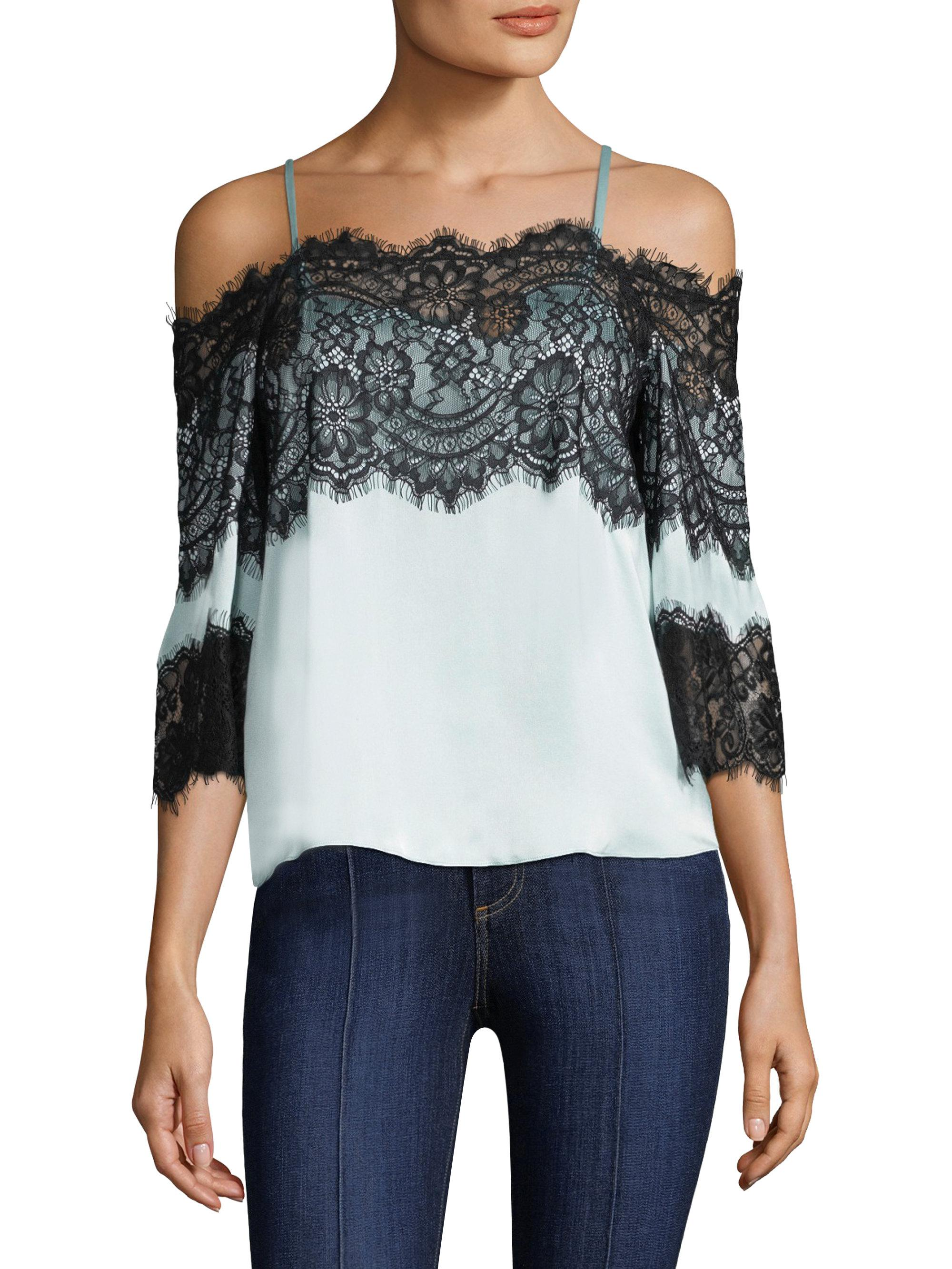 07b661ade90095 Lyst - Alice + Olivia Oralia Cold-shoulder Silk Blouse With Lace in ...
