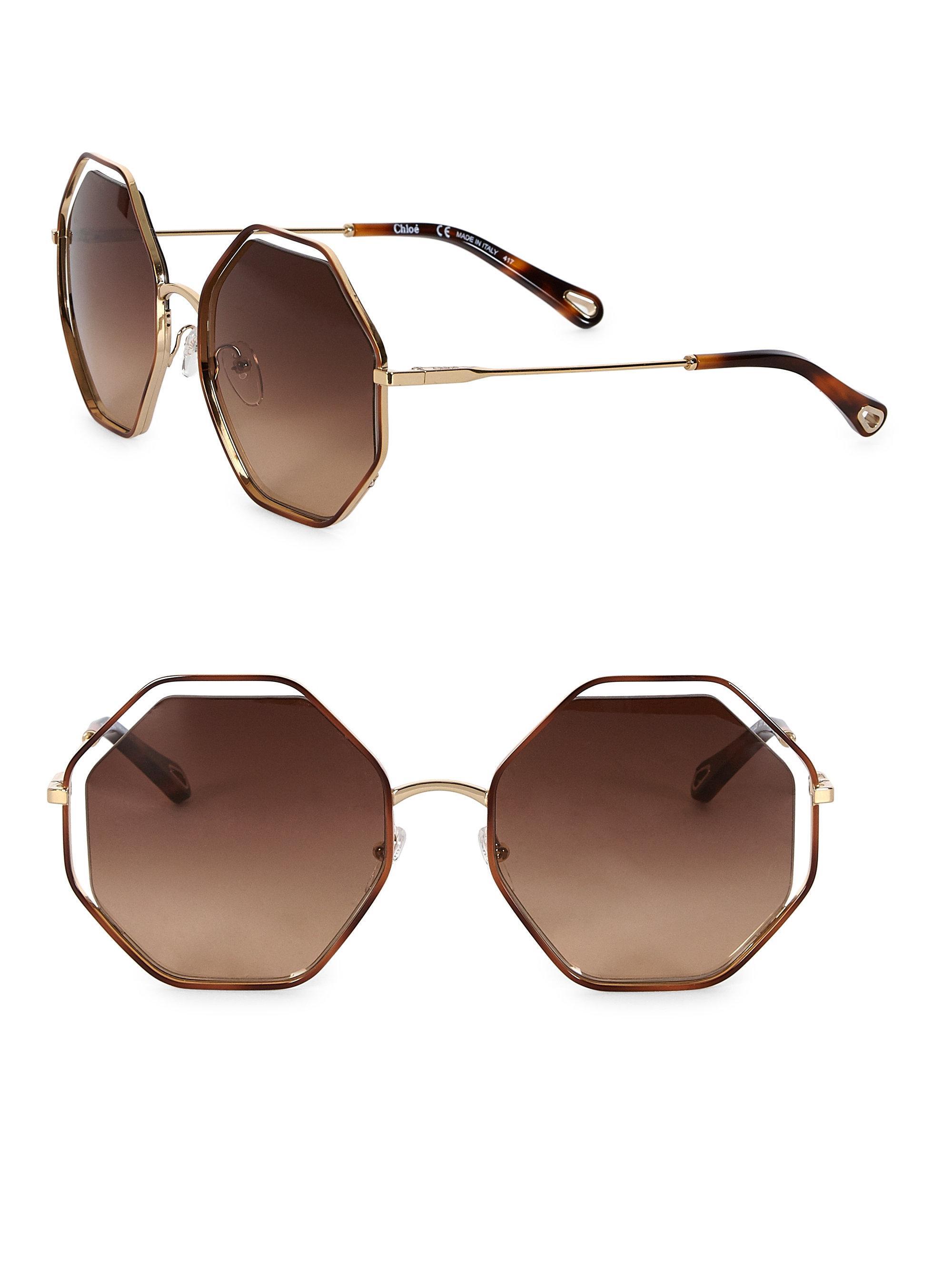 1aff9b4a30b Chloé Women s Poppy Octagon Sunglasses - Green in Brown - Lyst