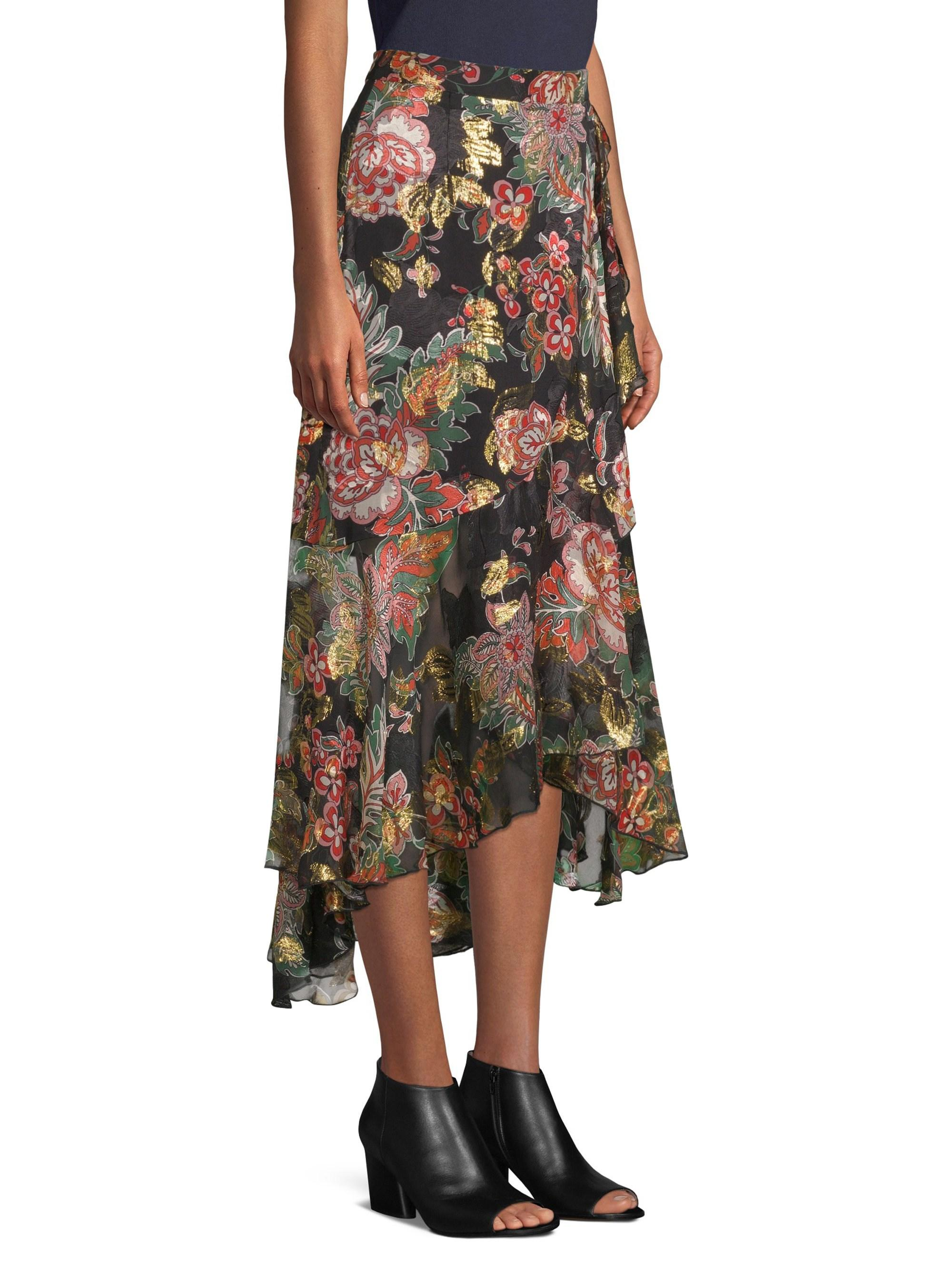 9e5abe65a2f The Kooples Women's Floral Frill Silk Midi Skirt - Black - Size M in ...