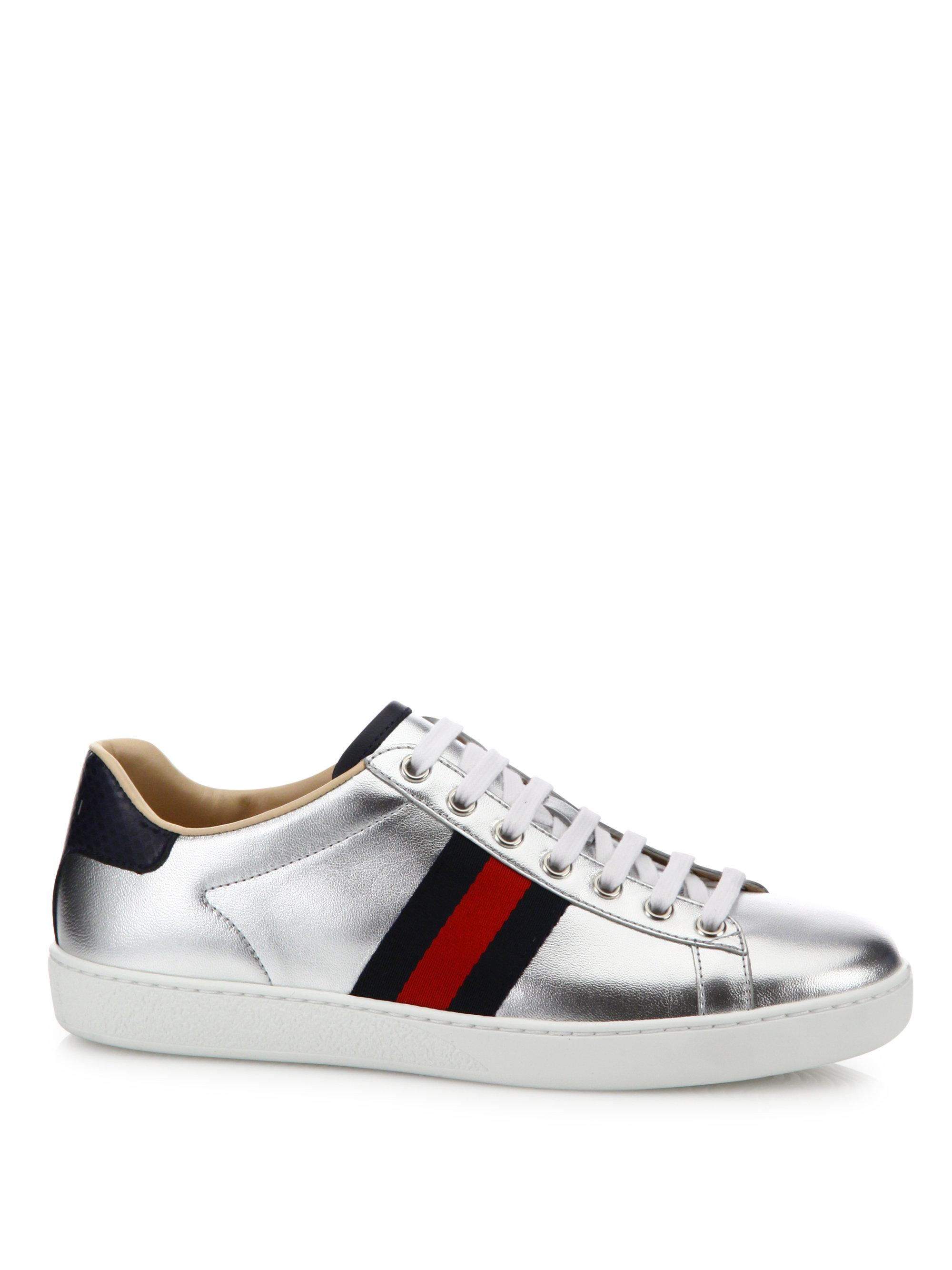 b99f707dd5b8 Lyst - Gucci New Ace Metallic Leather Low-top Sneakers
