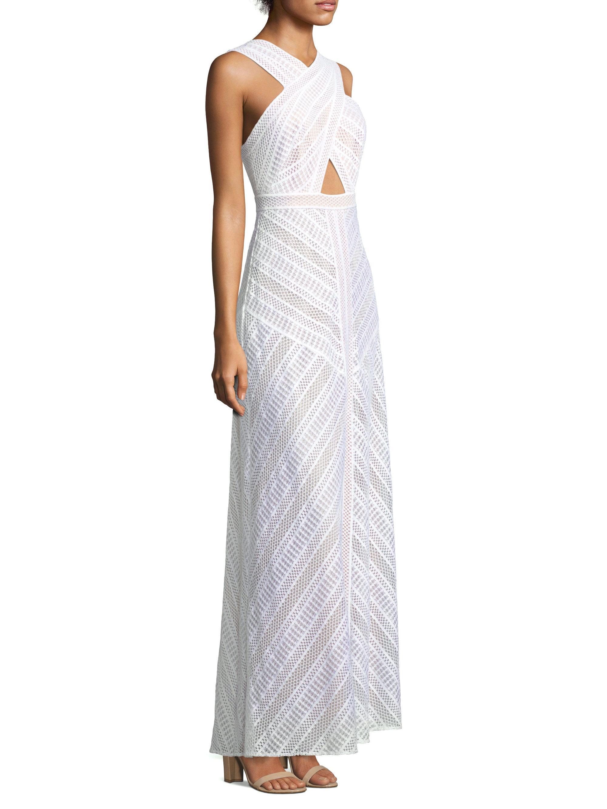 Lyst - Bcbgmaxazria Genelle Lace Halter Gown in White
