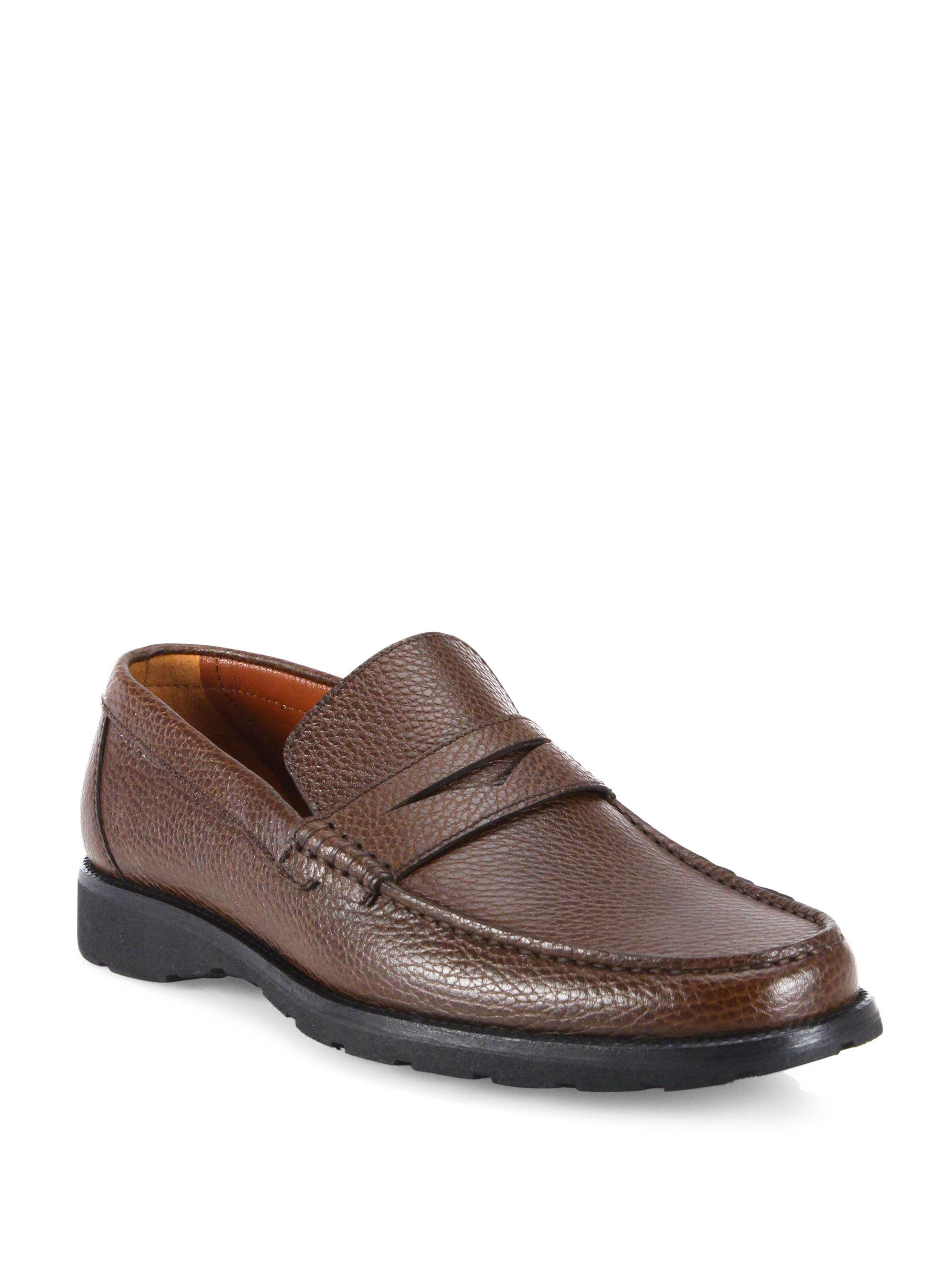 A.Testoni. Men's Brown Pebbled Leather Penny Loafers
