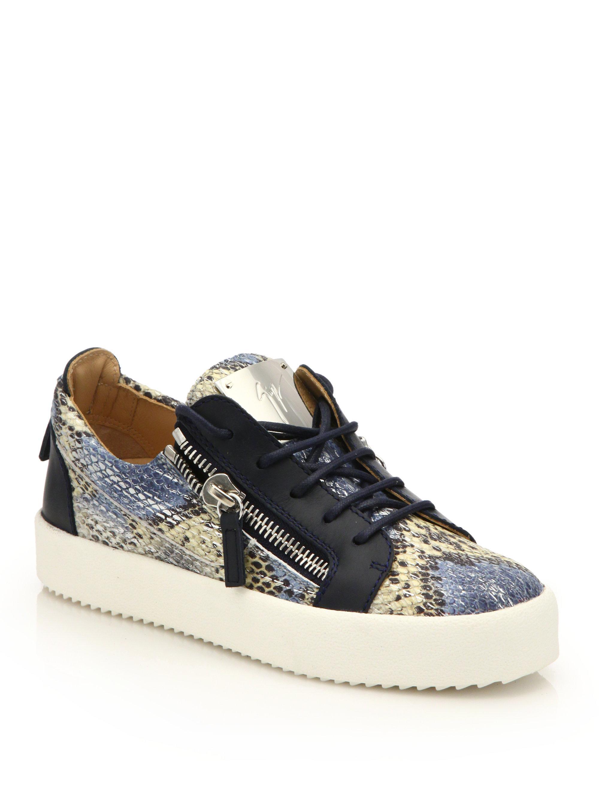 Giuseppe Zanotti. Women's Snake-embossed Leather Low-top Zip Sneakers