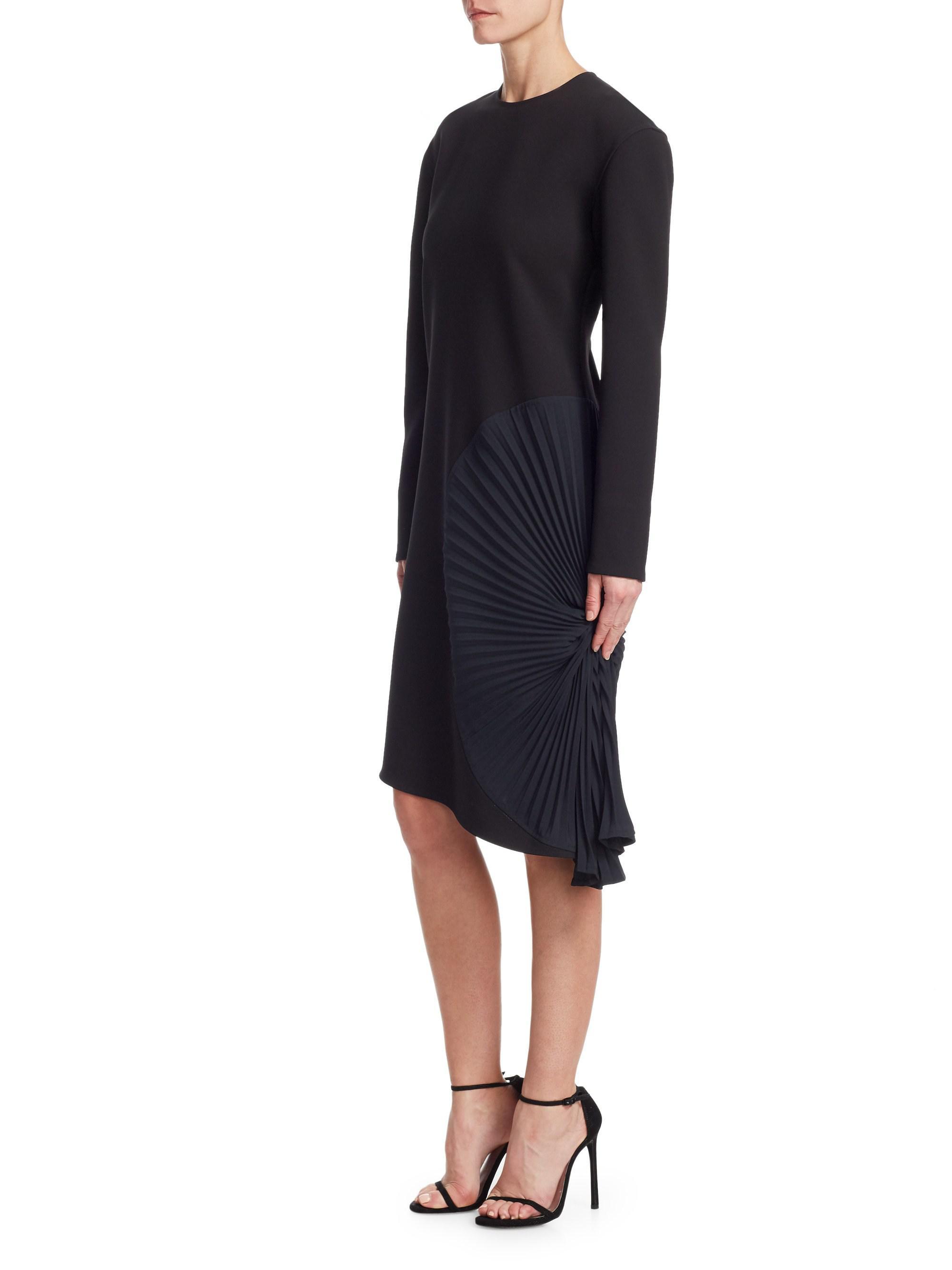 ab5a06159062 victoria-beckham-black-Long-Sleeve-Pleated-Panel-Dress.jpeg