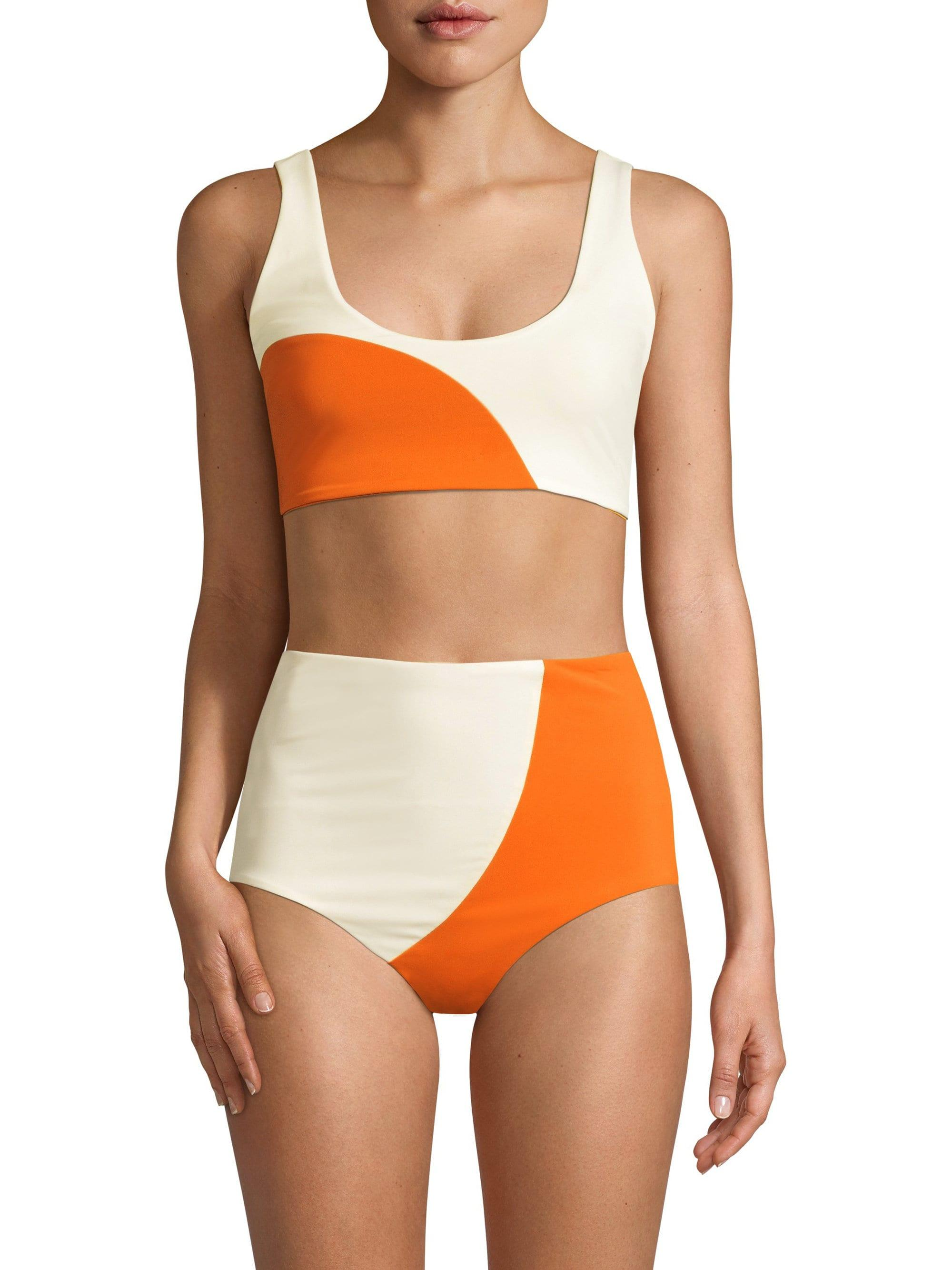 6e4948a4605e Lyst - Mara Hoffman Lira Bikini Top In Orange   Cream in Orange ...