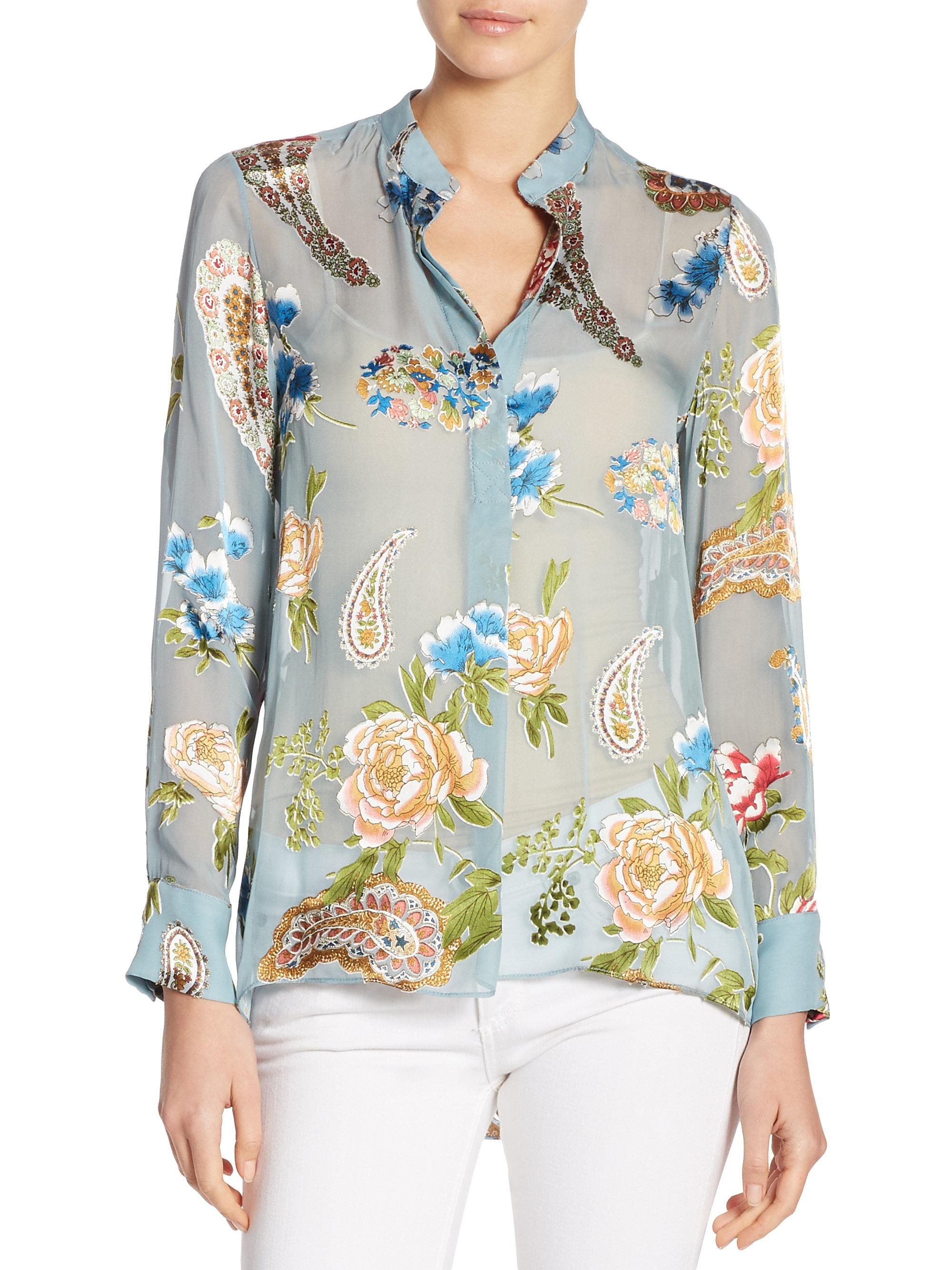663f46c9c66 Alice + Olivia Amos Floral Tunic Top in Blue - Lyst