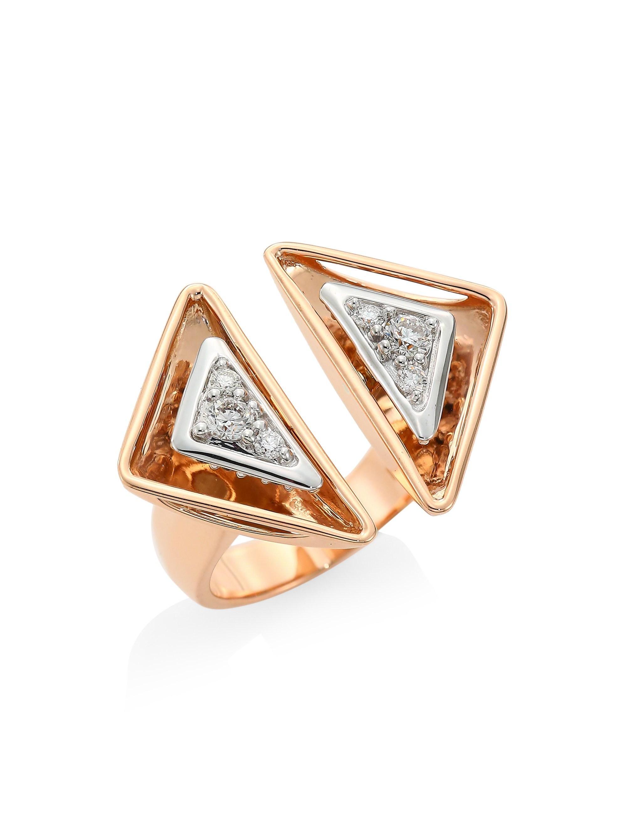 Lyst - Plevé Aura 18k Rose Gold & Diamond Triangle Cocktail