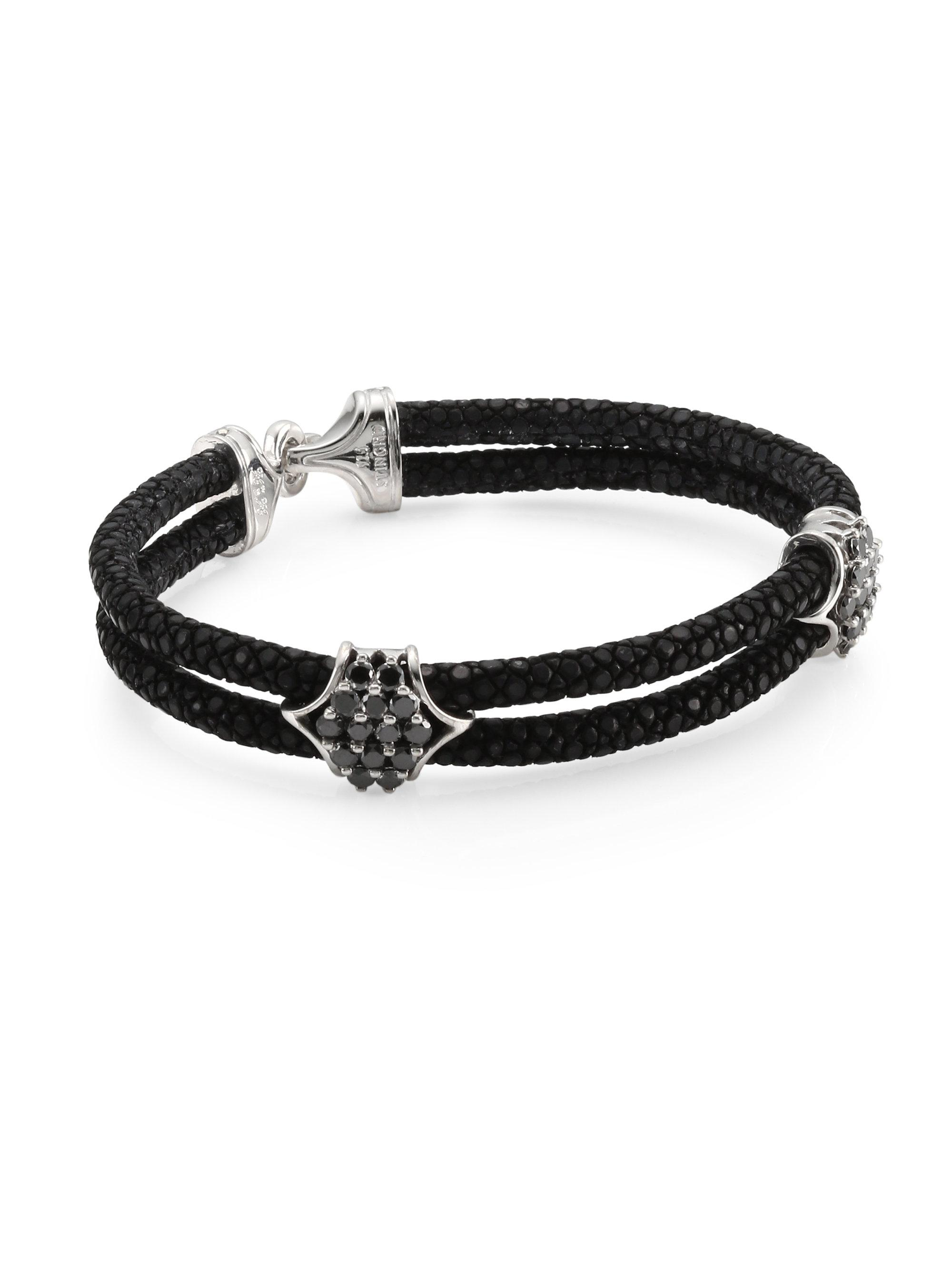 silver stingray diamond s bracelet stinghd jewelry lyst in black wrap men