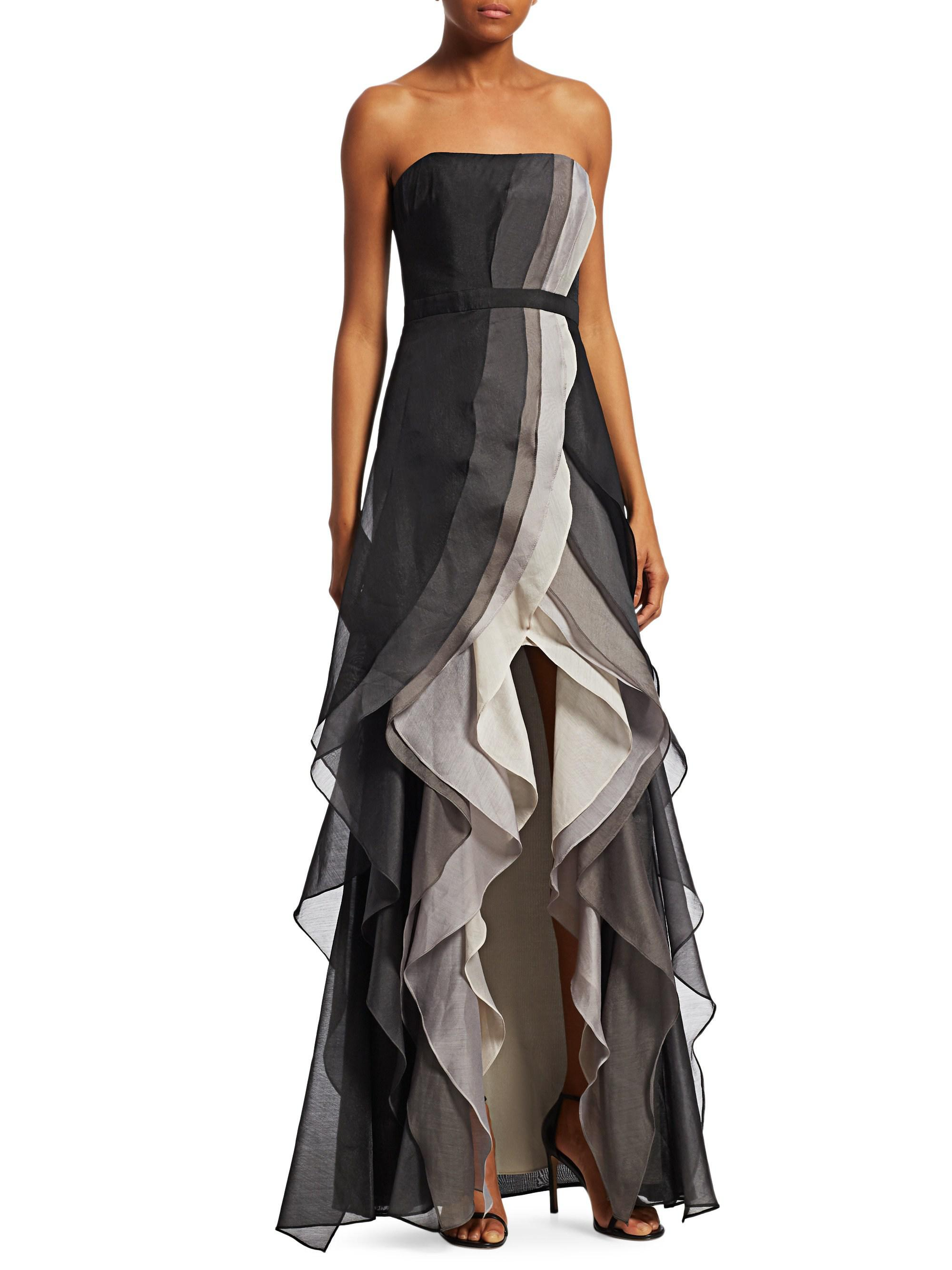 Lyst - Halston Heritage Ombre Tiered Ruffled Evening Gown in Black