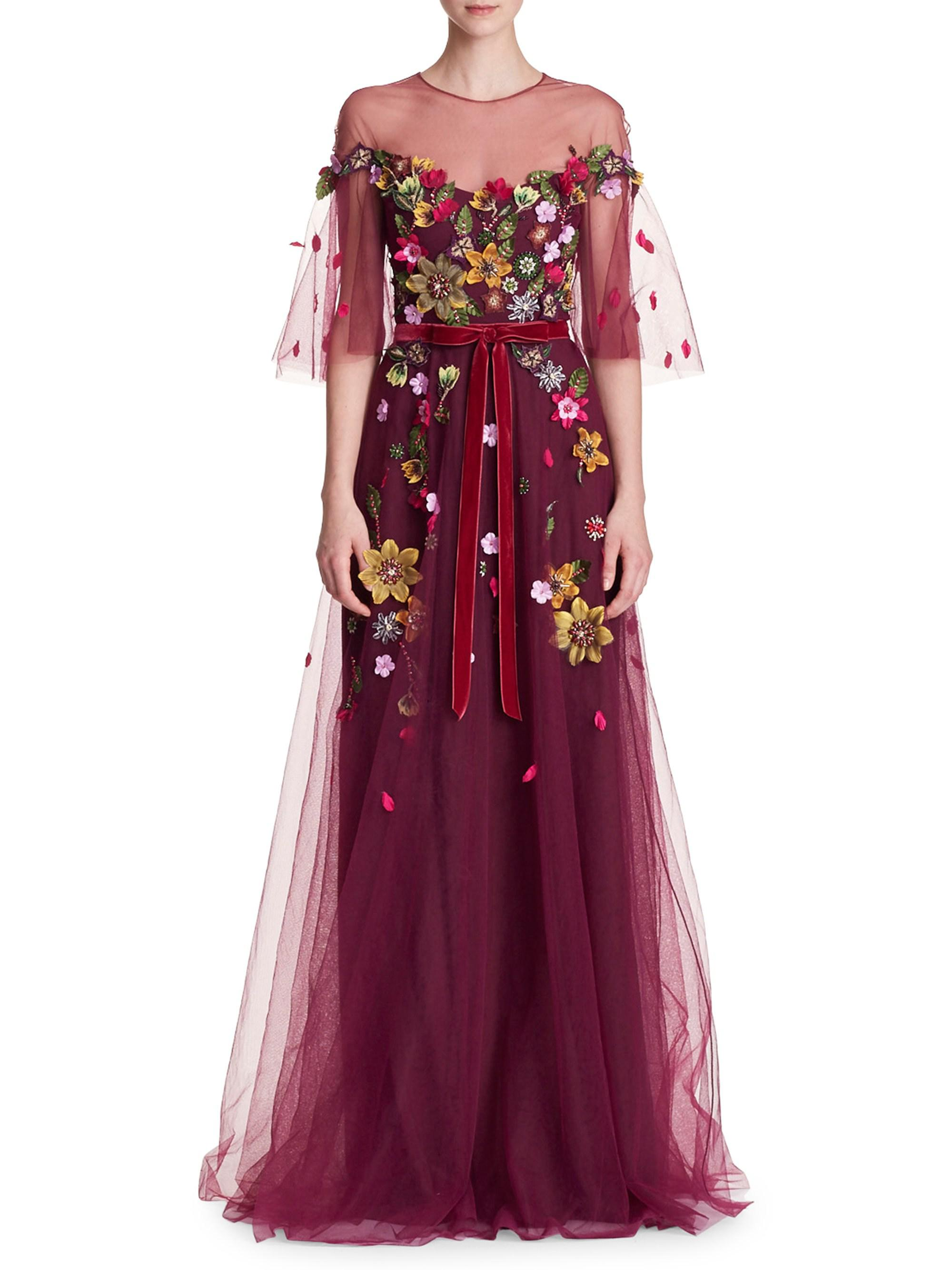 f9296f4156a5 Marchesa Notte Floral Belted Gown - Lyst