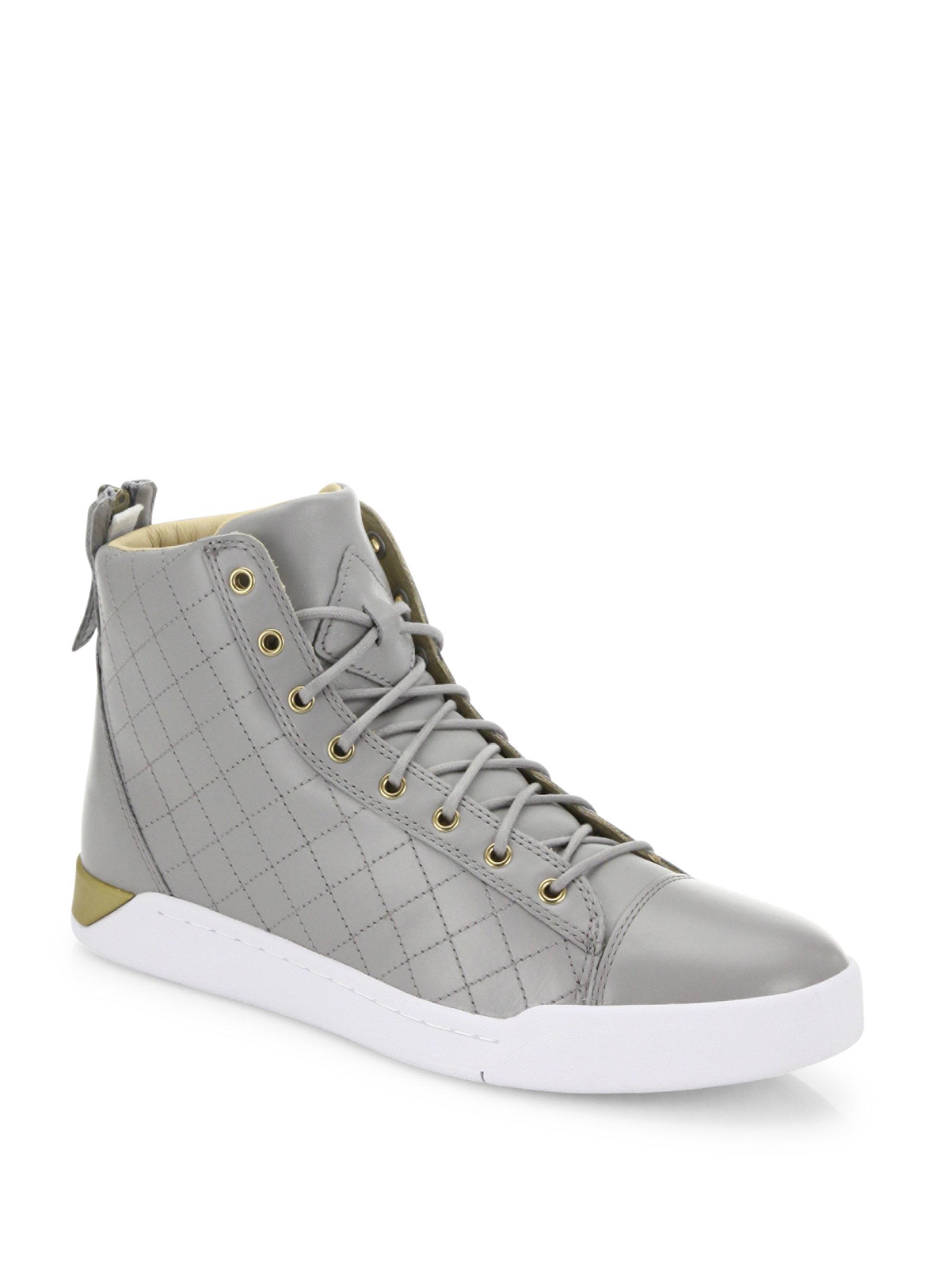 49f536c981 Lyst - DIESEL Tempus Diamond Leather Mid-top Sneakers in Gray for Men