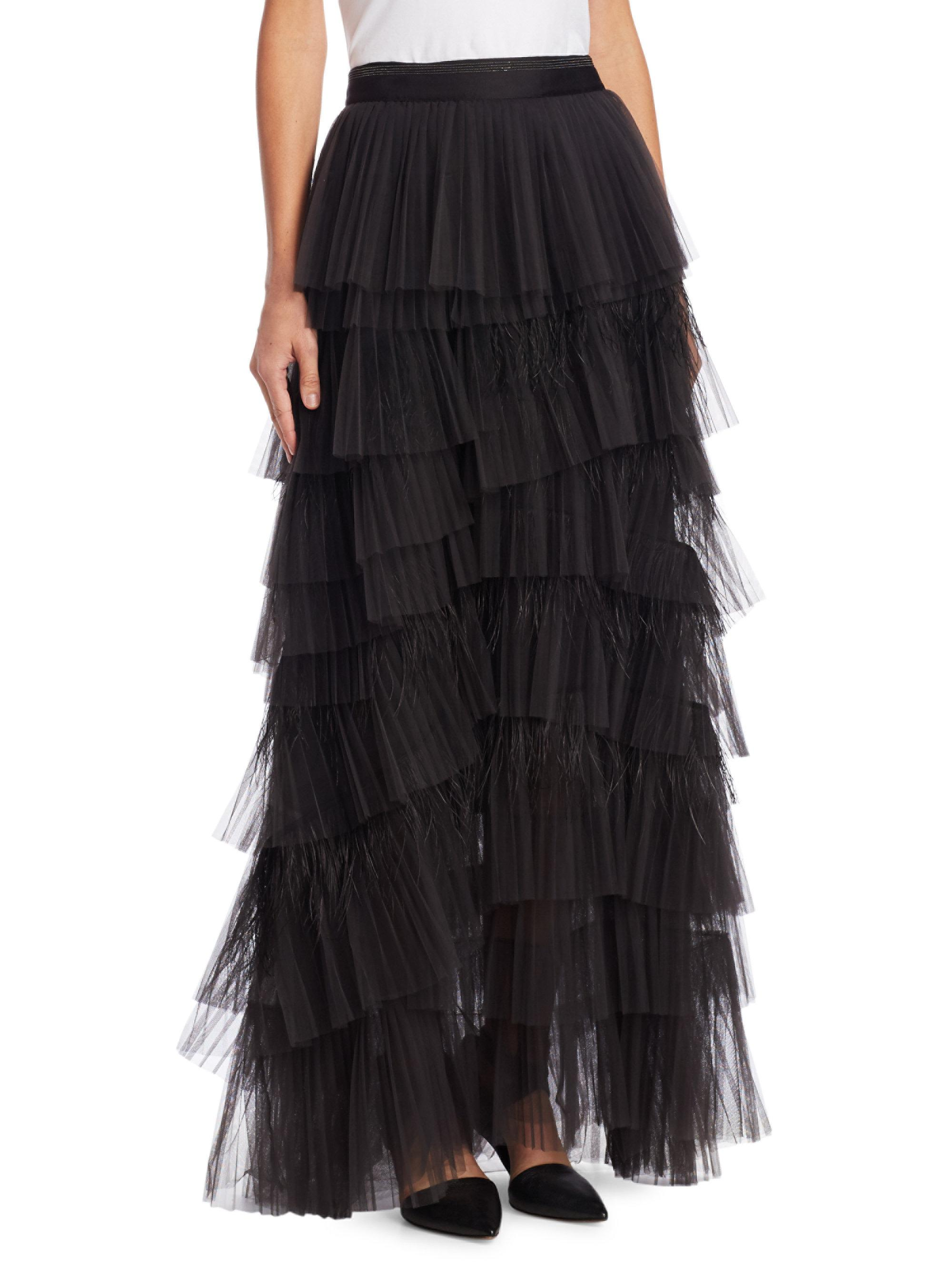 e13106050 Brunello Cucinelli Tulle Tiered Maxi Skirt in Black - Lyst