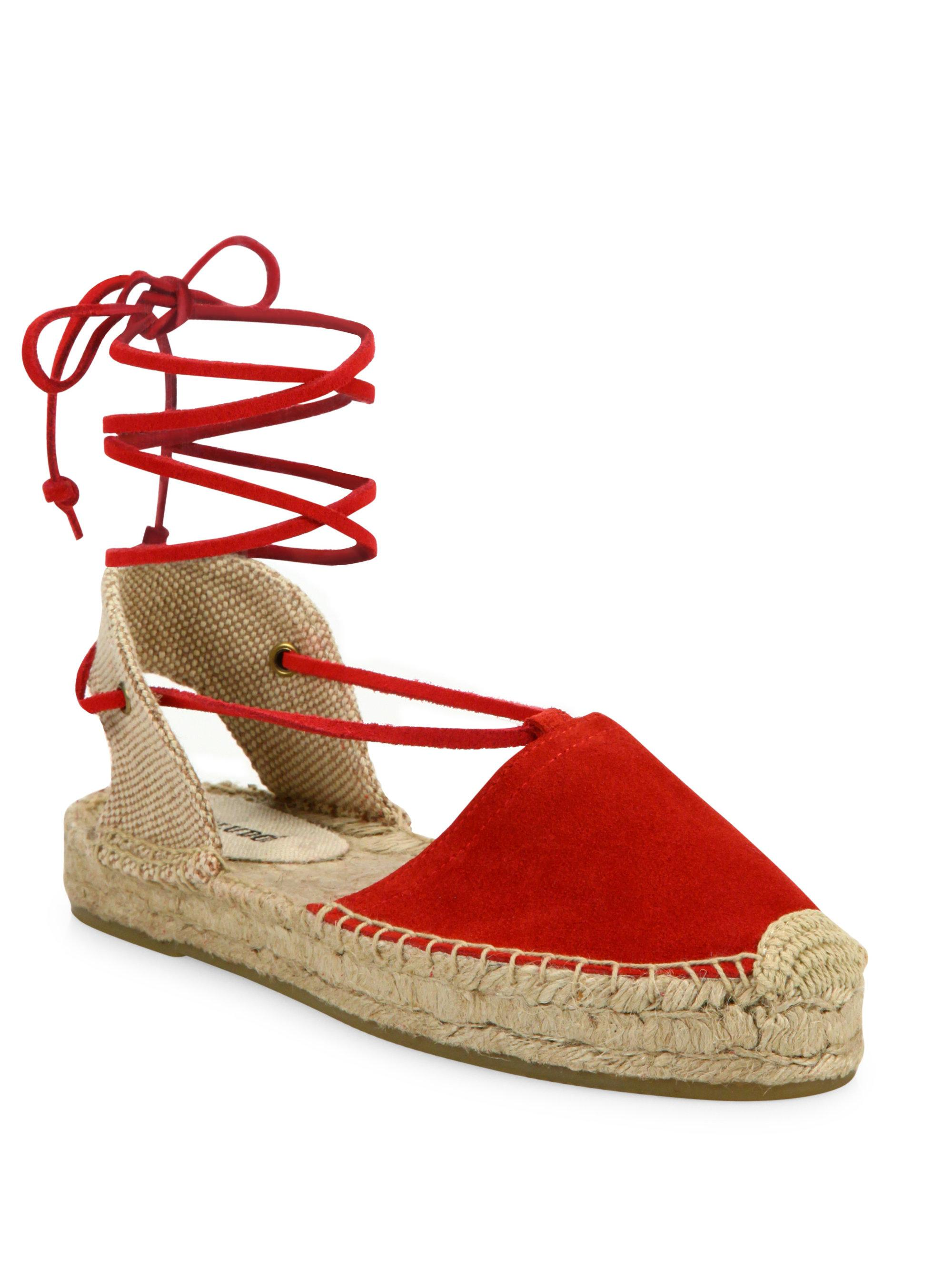 2d764f79eef0 Soludos Suede Lace-up Platform Espadrilles in Red - Lyst