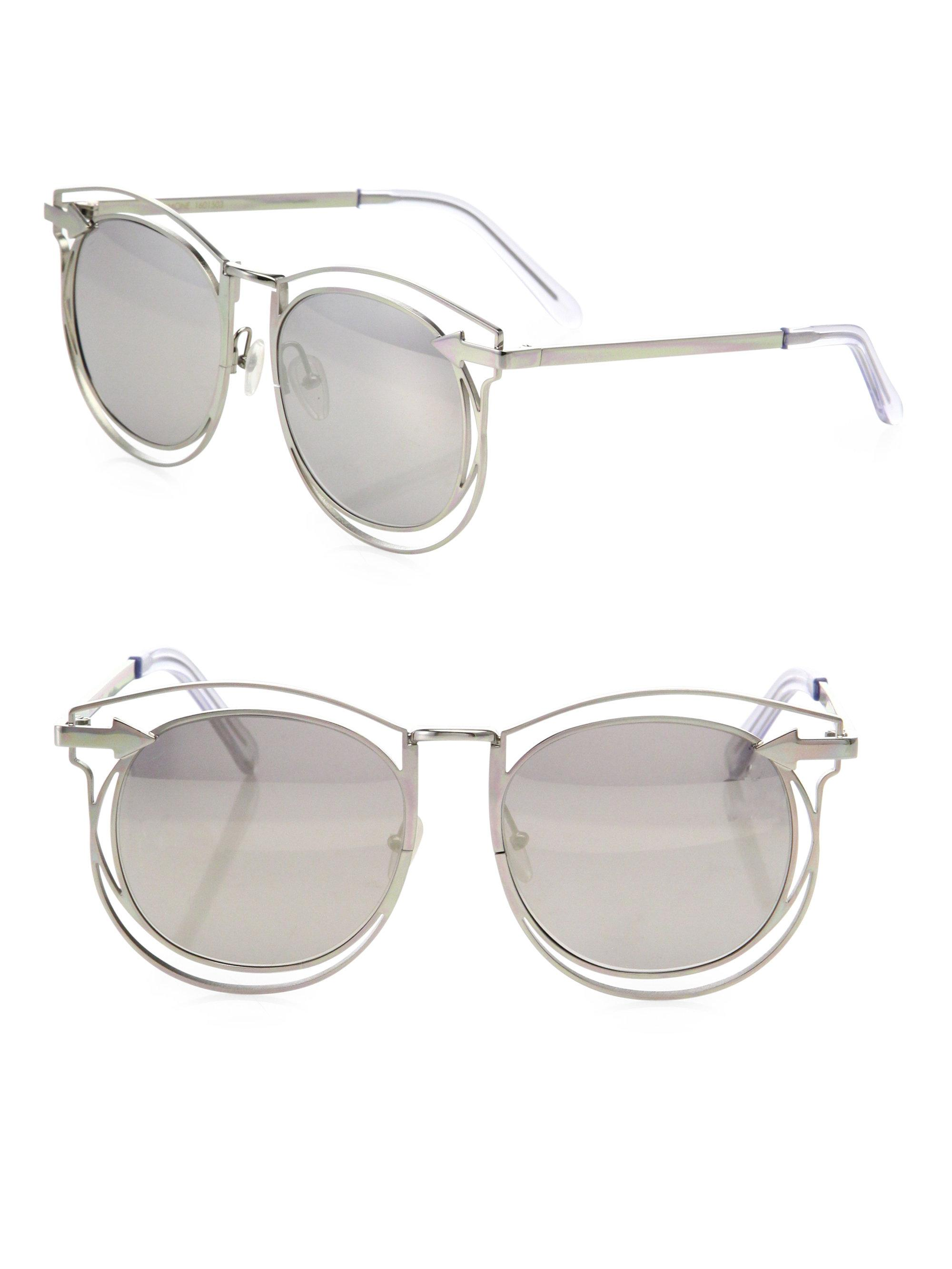 56ea9d6387333 Karen Walker Simone 54mm Mirrored Cutout Round Sunglasses in ...