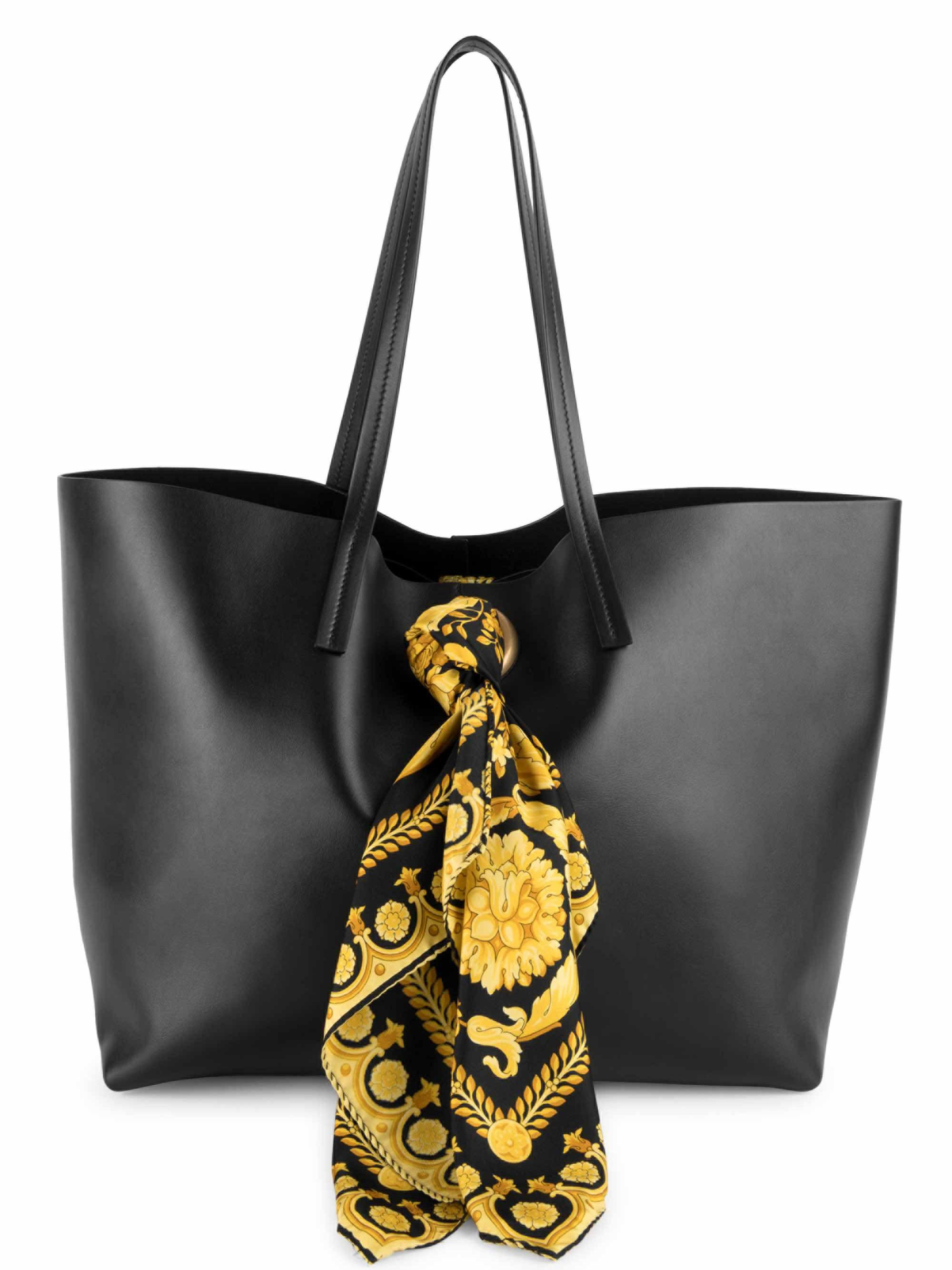 Versace Tribute Baroque Scarf Leather Tote - in Black - Lyst e32c9a266d6a8