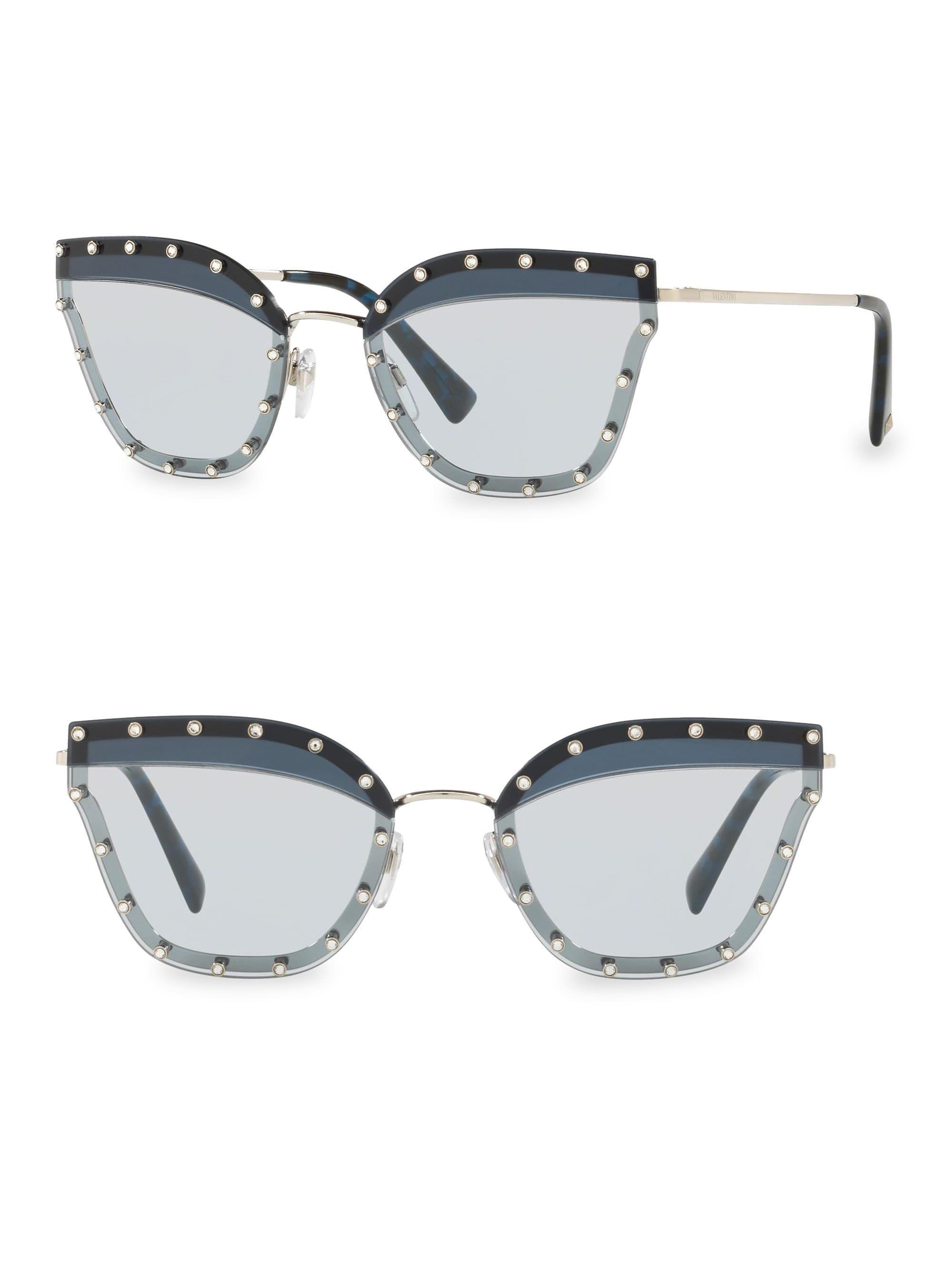 21a3cdf9bb59 Lyst - Valentino Crystal Trim 59mm Cat Eye Sunglasses in Blue